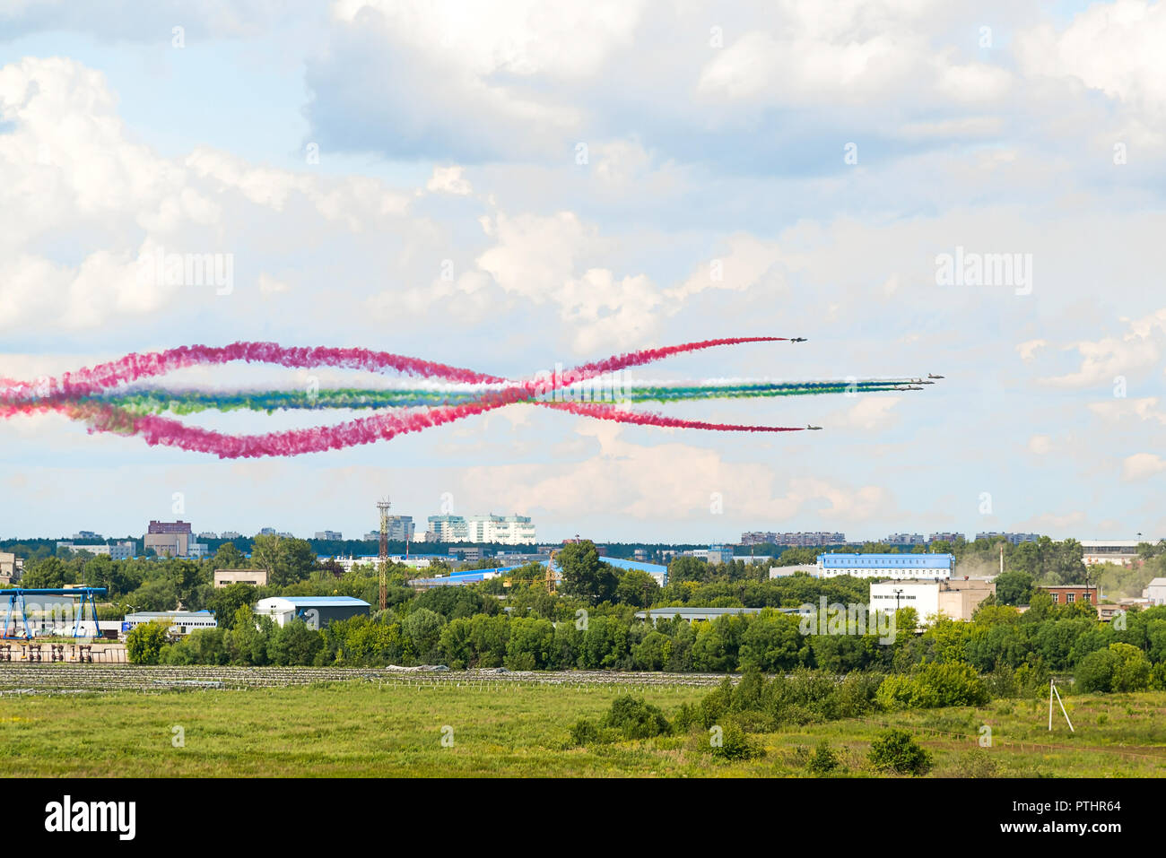 Russia, Zhukovsky, July 23, 2017: International Aviation and Space Salon MAKS-2017, fighter flights. Annual event, scientific conferences, business - Stock Image