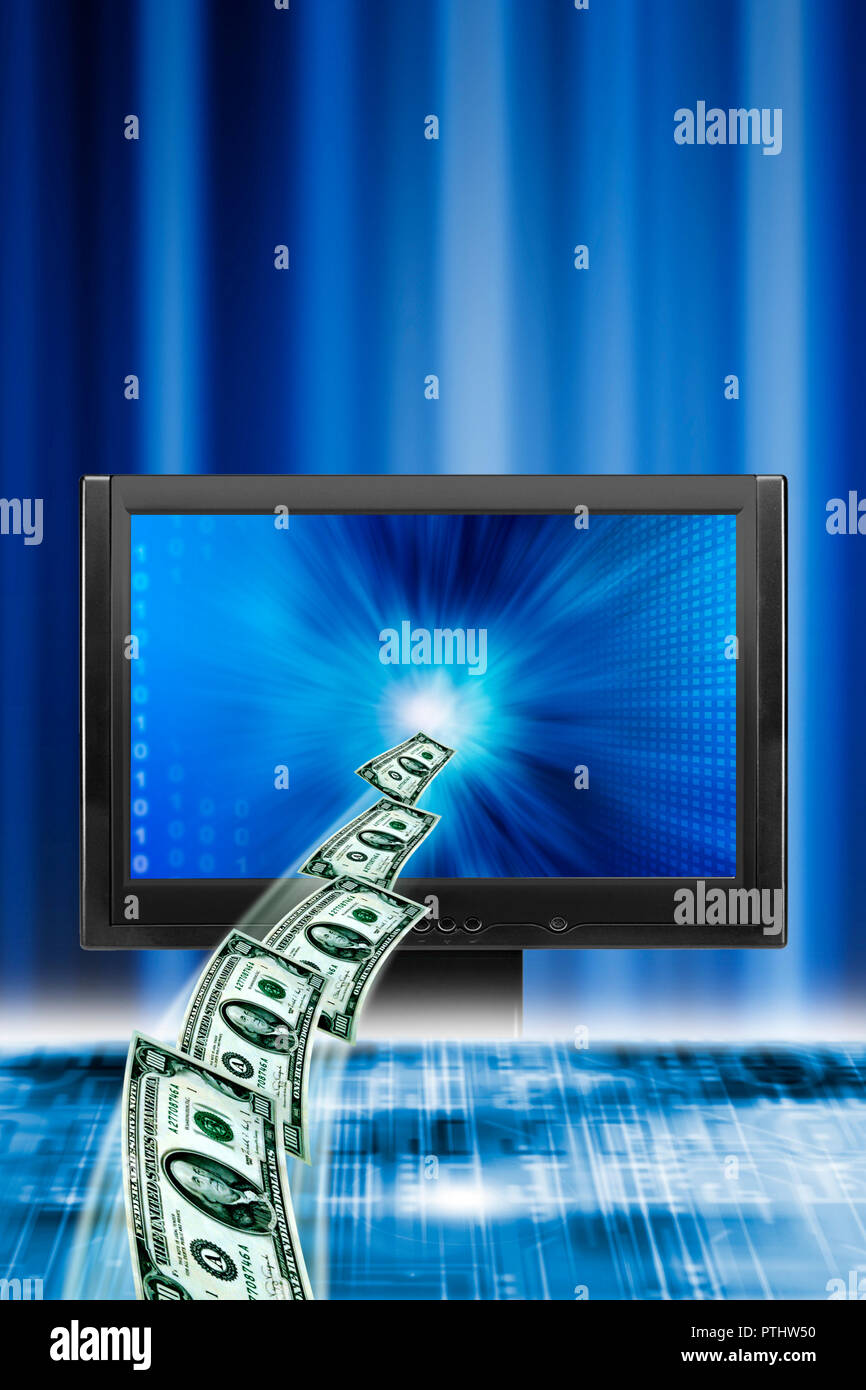 dollars banknotes coming out of a computer monitor, e-banking concept - Stock Image