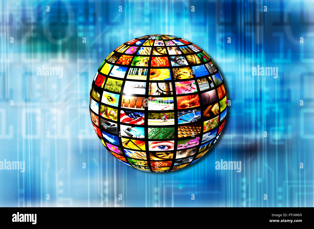 sphere with many screens, IPTV and digital broadcasting - Stock Image