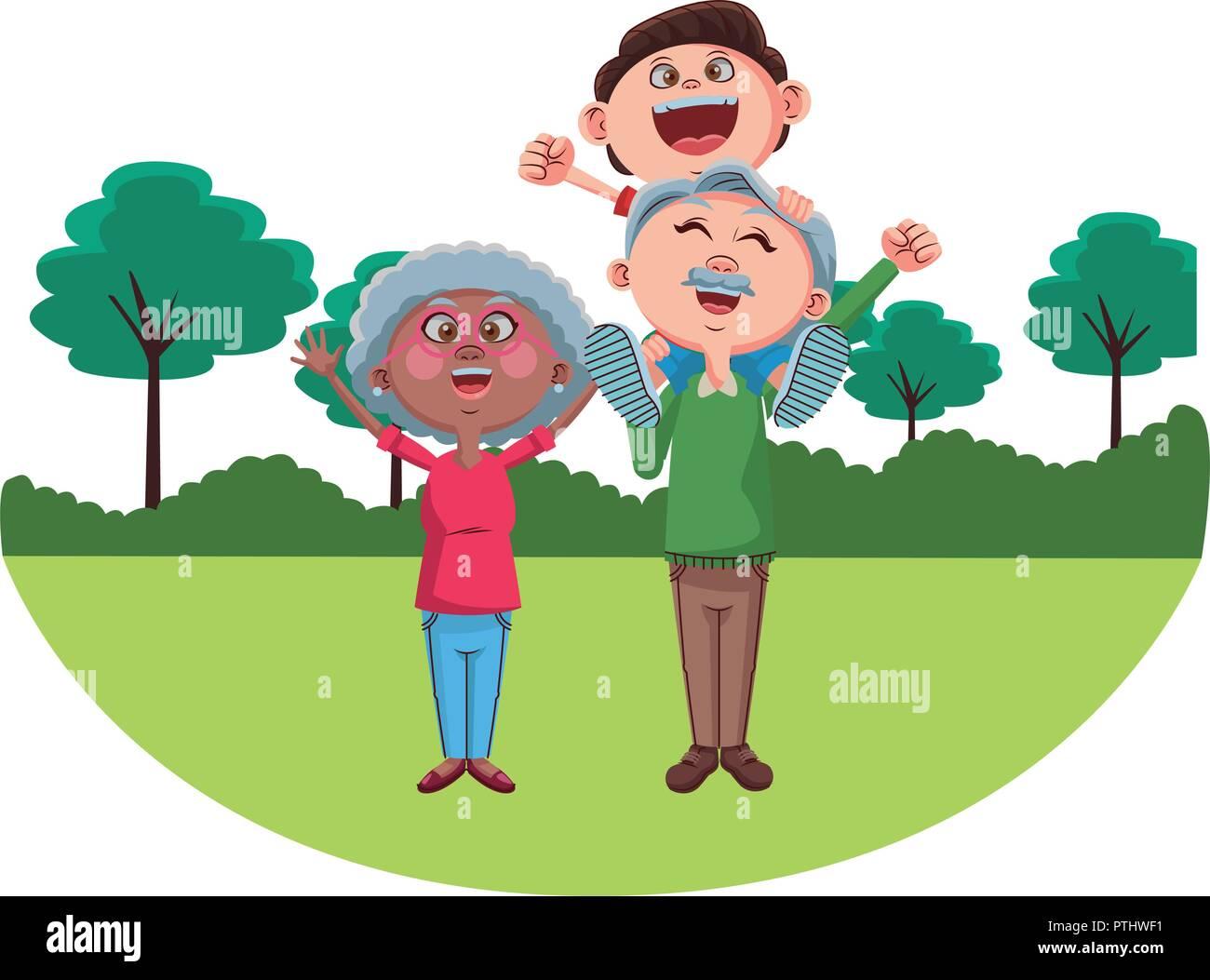 Grandparents and grandchildrens - Stock Vector
