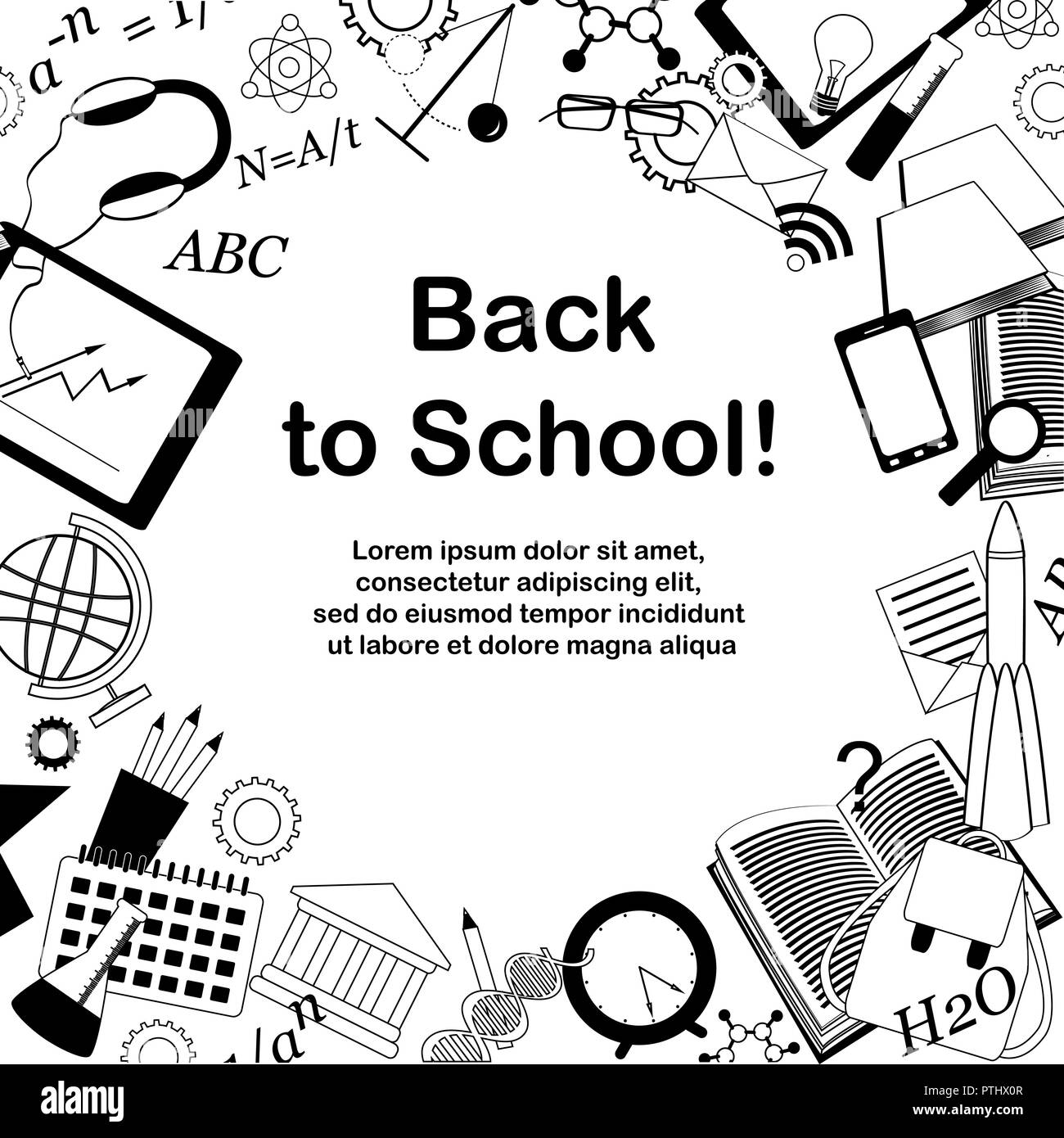 Back to school frame, hand-drawn doodles background. Vector illustration. Place for text - Stock Image
