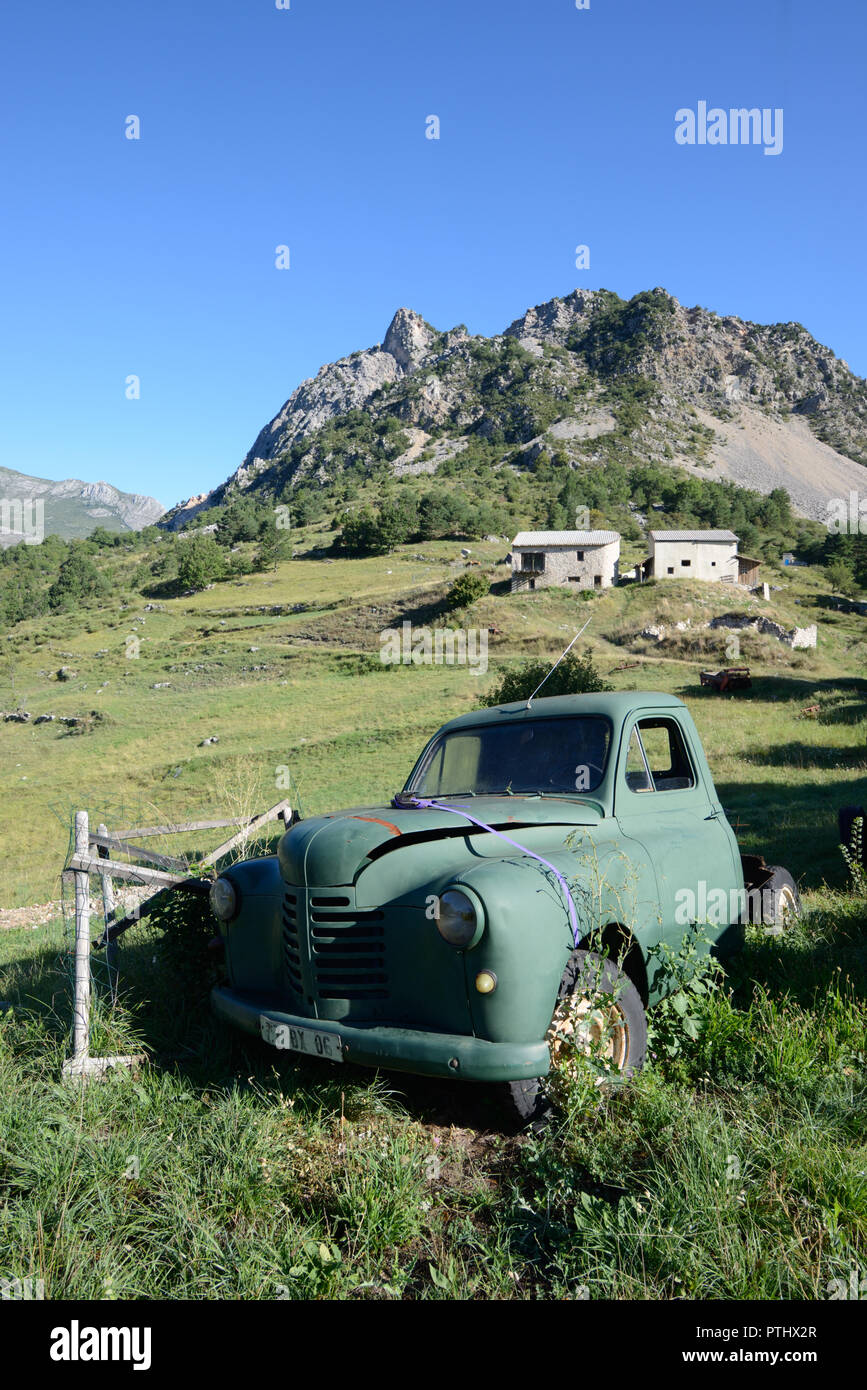 Abandoned Vintage Peugeot 203 Pick Up Truck (1948-1960) in Green Landscape Setting on Hill Farm at Taloire in the Verdon Gorge French Alps France - Stock Image