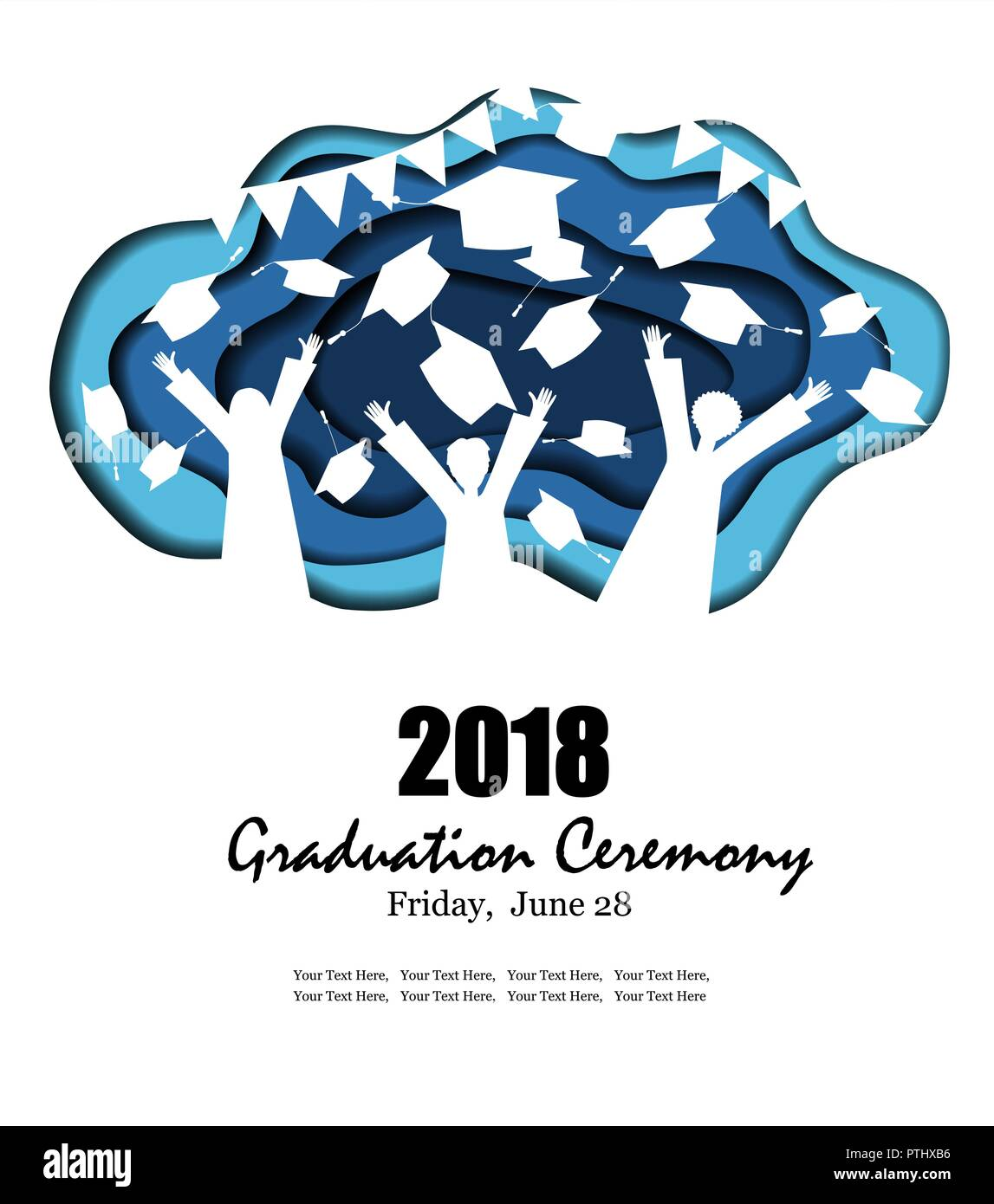 Graduation party background in paper art style with happy graduates and graduate hats silhouettes. Vector illustration in trendy carved craft style - Stock Image