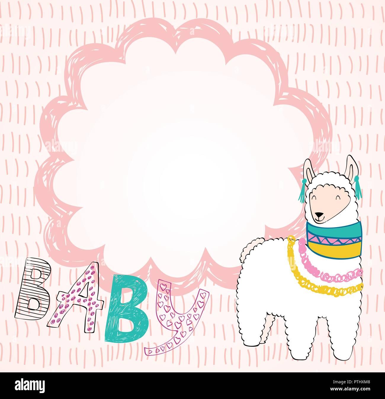 bfcceb54e Hand drawn card with cartoon cute llama Stock Vector Art ...