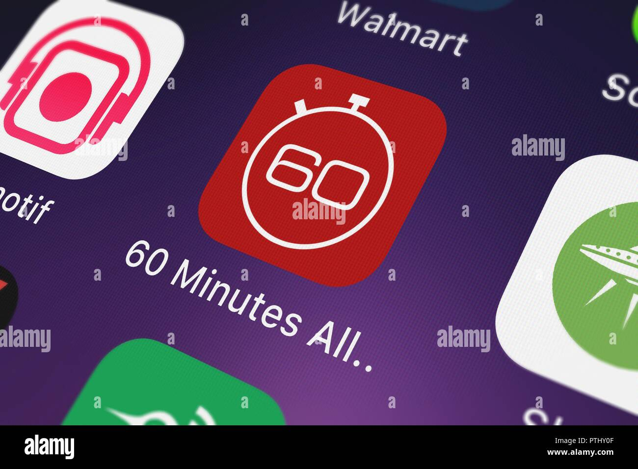London United Kingdom October 09 2018 Close Up Sof Cbs Interactives Popular App 60 Minutes All Access