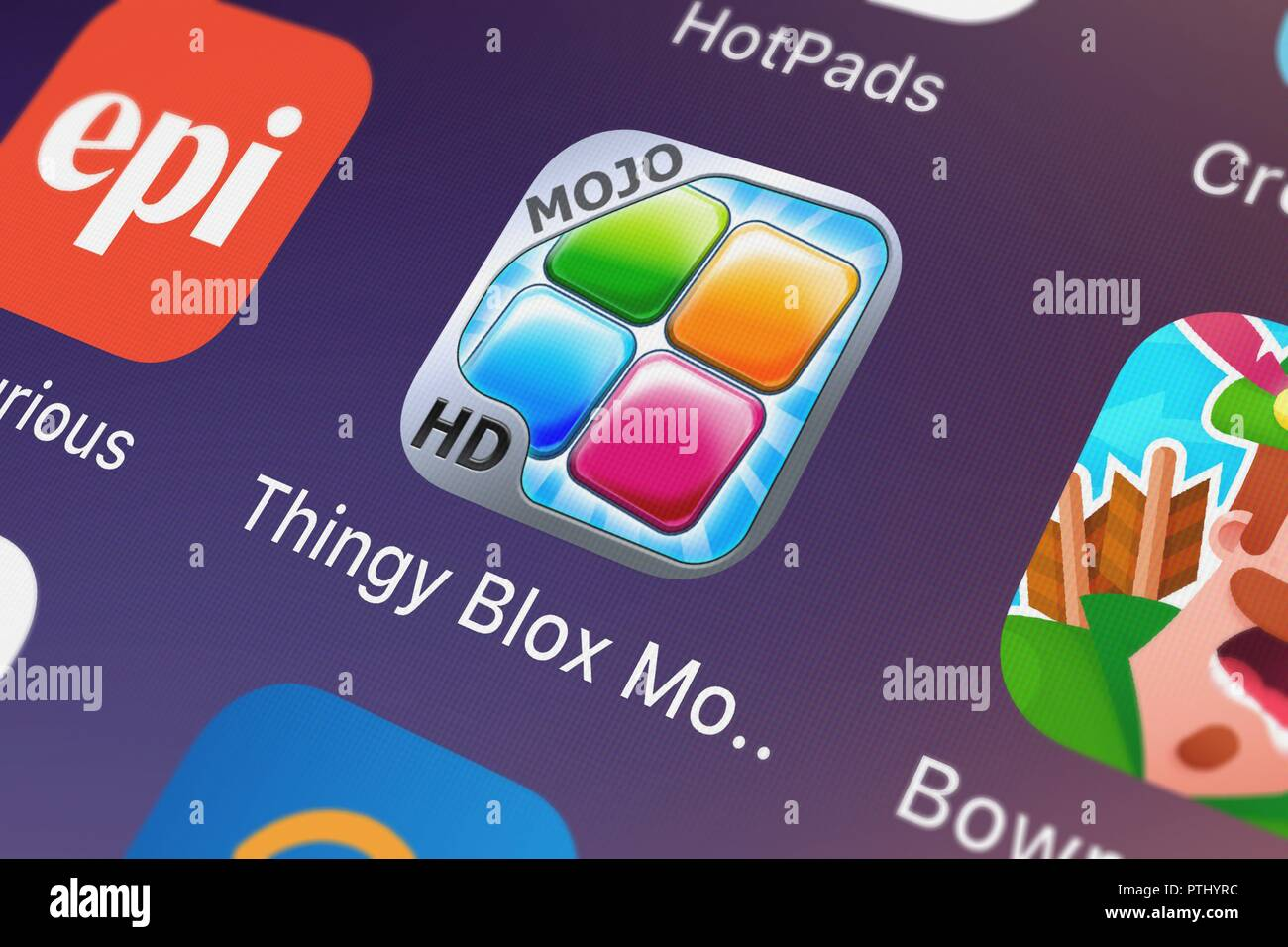 London, United Kingdom - October 09, 2018: Close-up of the Thingy Blox MoJo HD icon from FDG Mobile Games GbR on an iPhone. - Stock Image