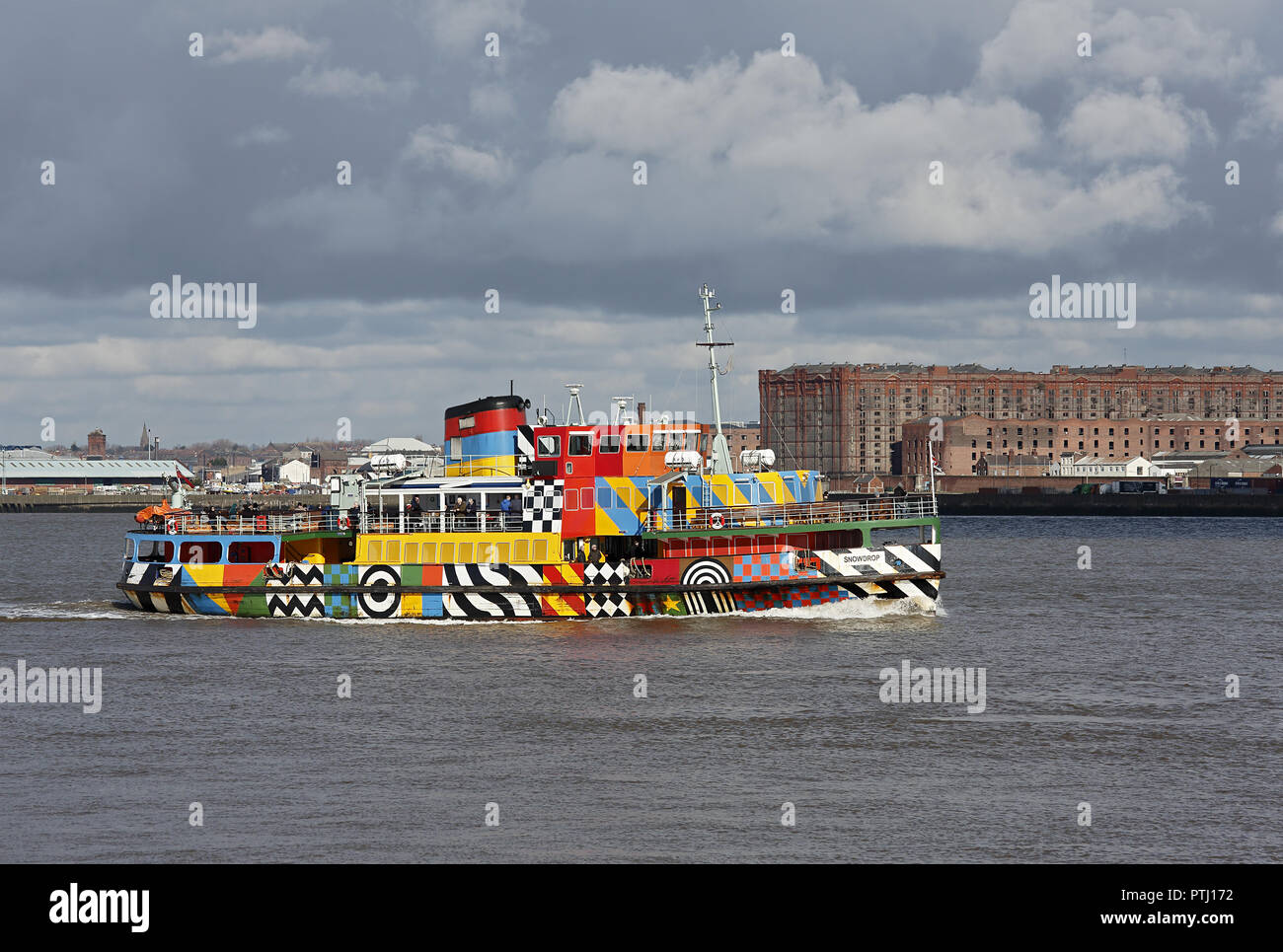 Mersey Ferry Snowdrop sailing up river on the River Mersey Liverpool UK December 54054 - Stock Image