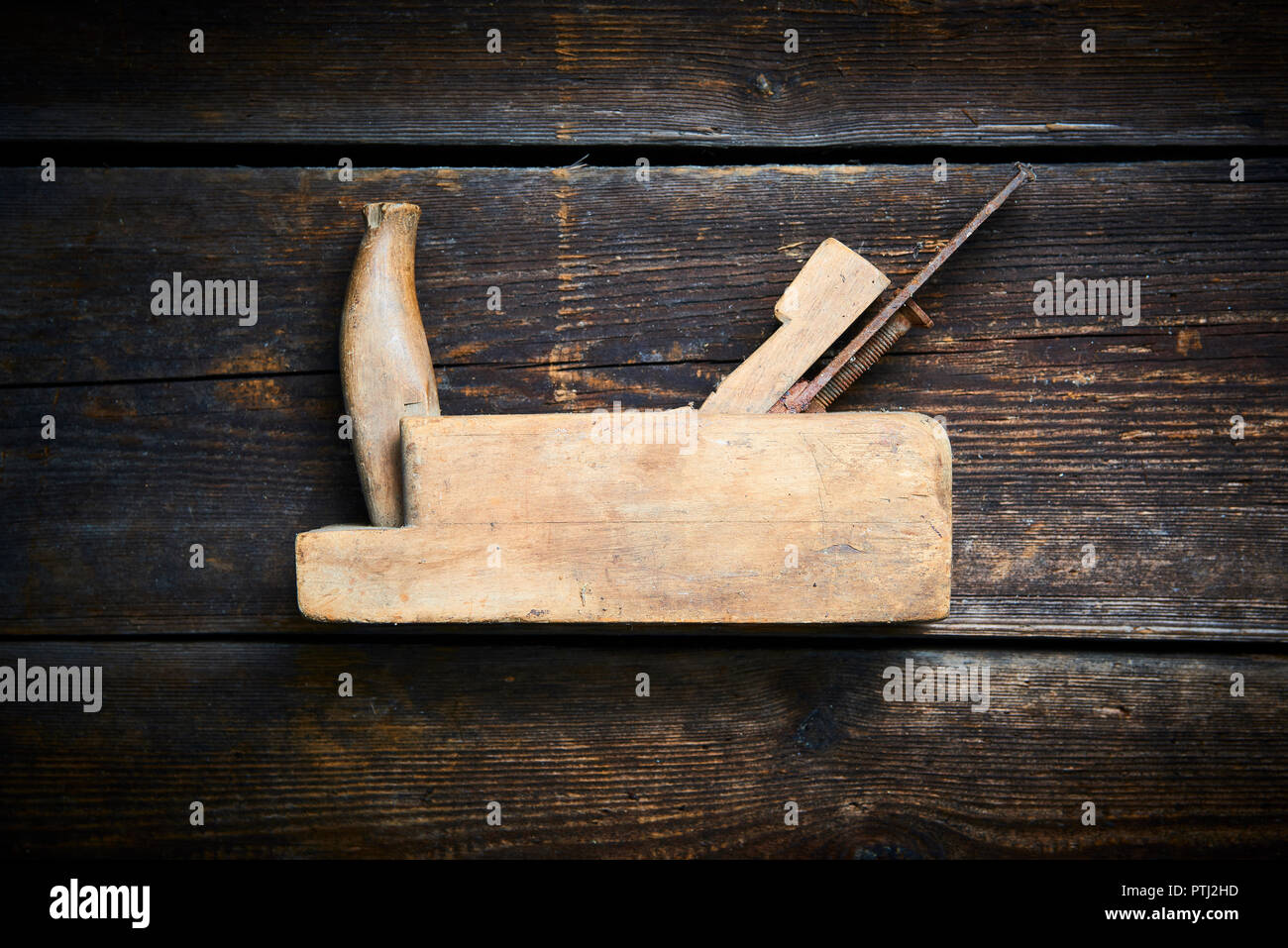 Carpenter Tabletop With Old Hand Plane Traditional Woodworking