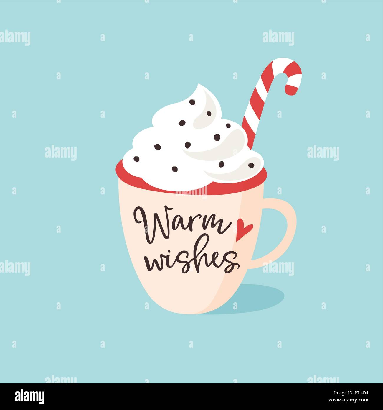 christmas new year greeting card invitation handwritten warm wishes text hand drawn cup of tea coffee or chocolate with cream and candy cane vin
