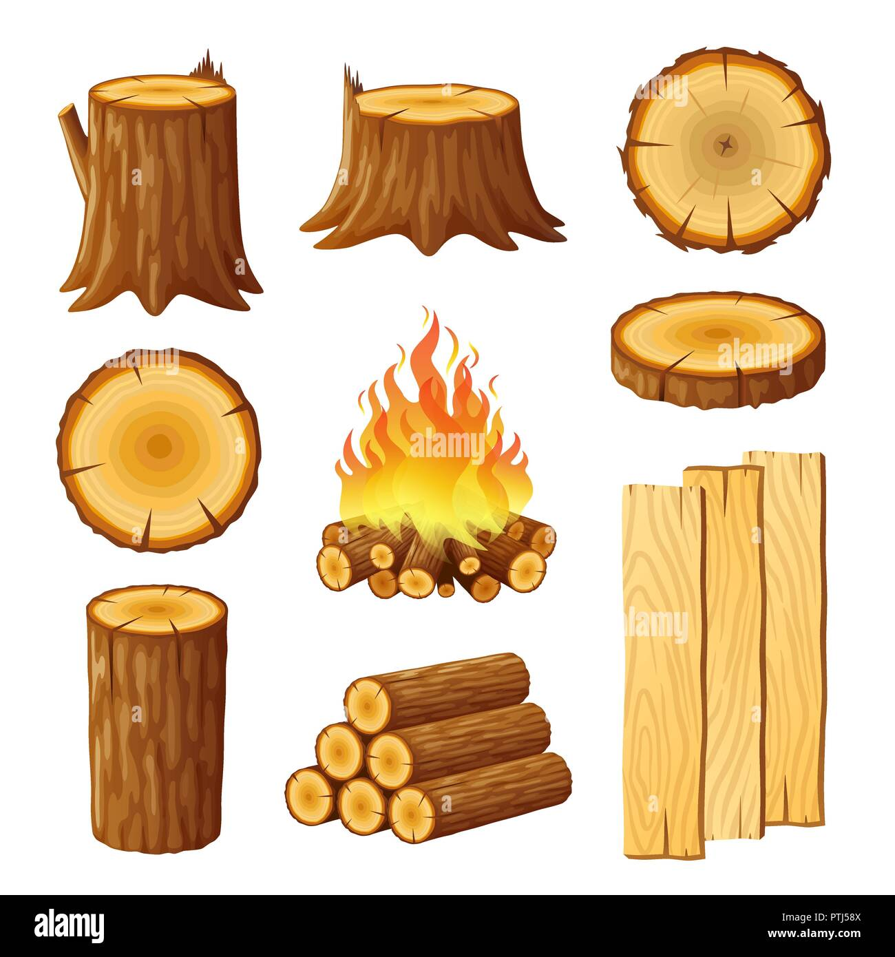 Set of logging, stumps and boards, woodpile and wood logs - Stock Image