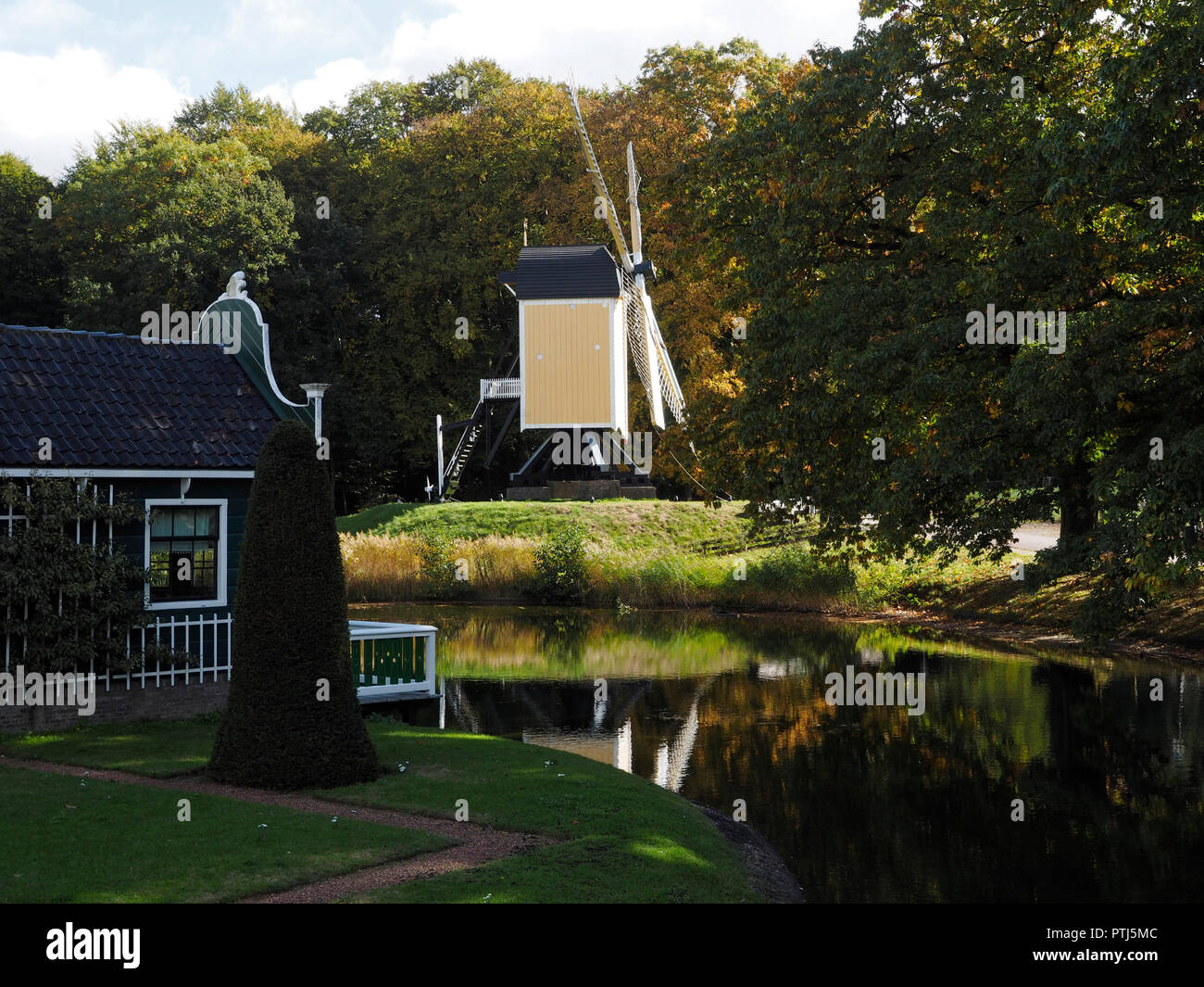 The Dutch open air museum in Arnhem is a large park where typical Dutch historic buildings are being collected, it is a popular tourist attraction in  - Stock Image
