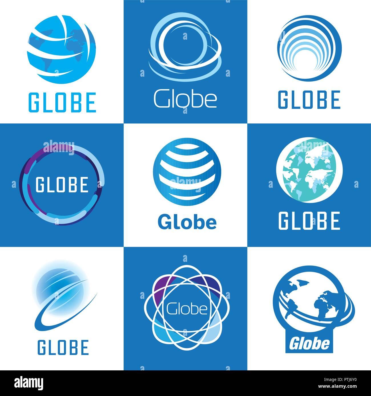 Set of vector logos globe, global and earth - Stock Vector