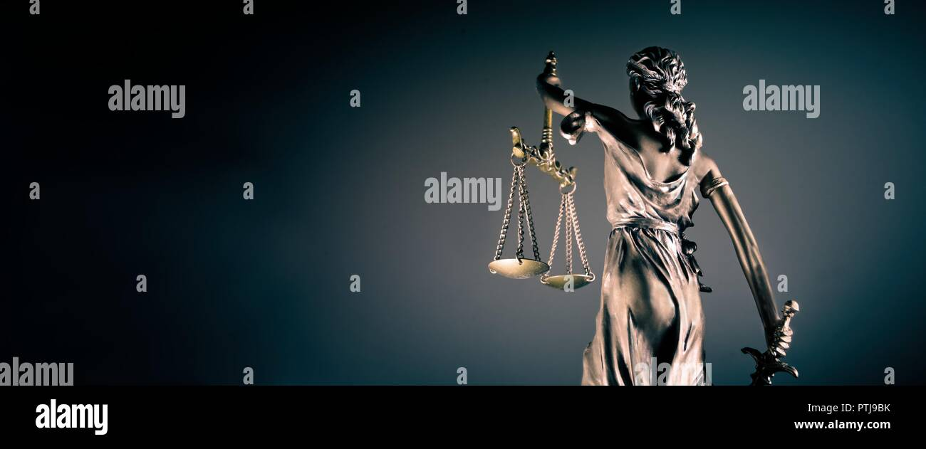 Statue of lady justice - rear view with copy space. Stock Photo