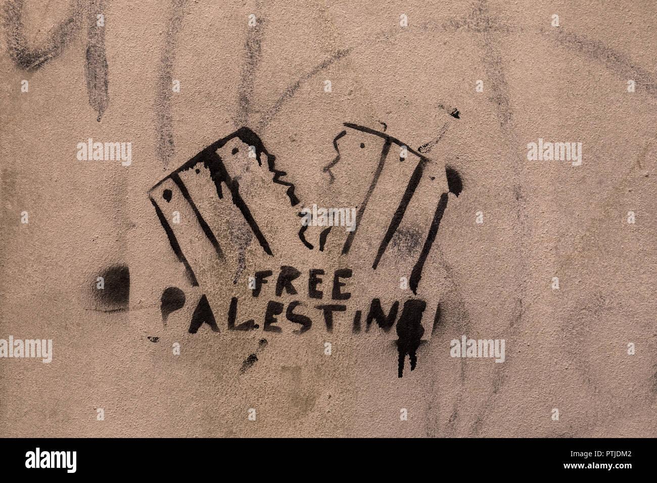 Free Palestine graffiti - Stock Image