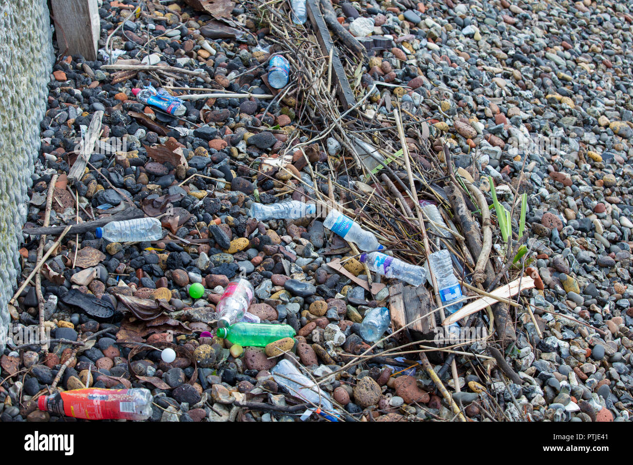 River Thames stone beach in London, GB. A large collection of plastic bottles polluting and contaminating the beach, water and fish life in the river. - Stock Image