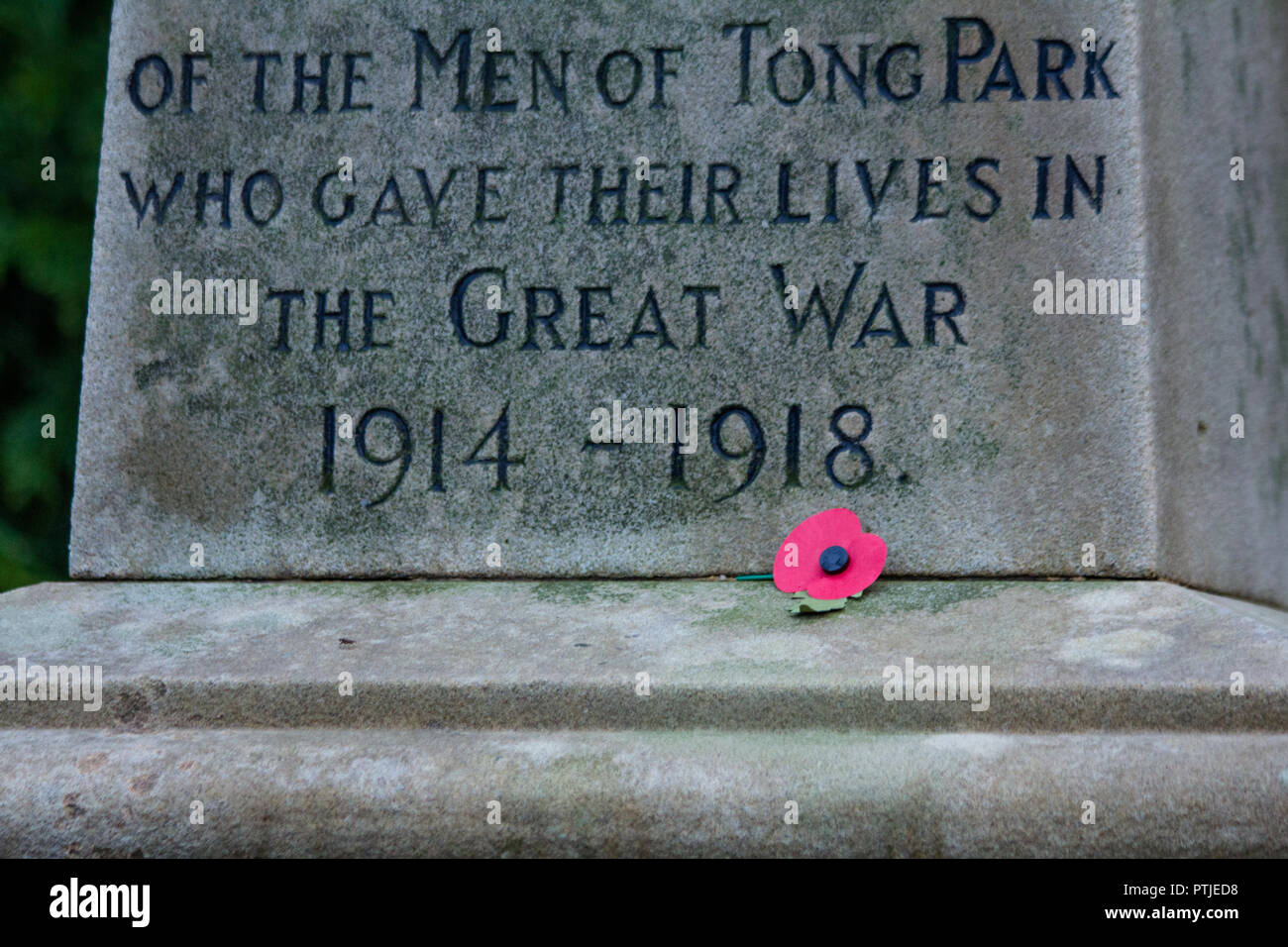A single red poppy at the base of a first world war memorial. - Stock Image