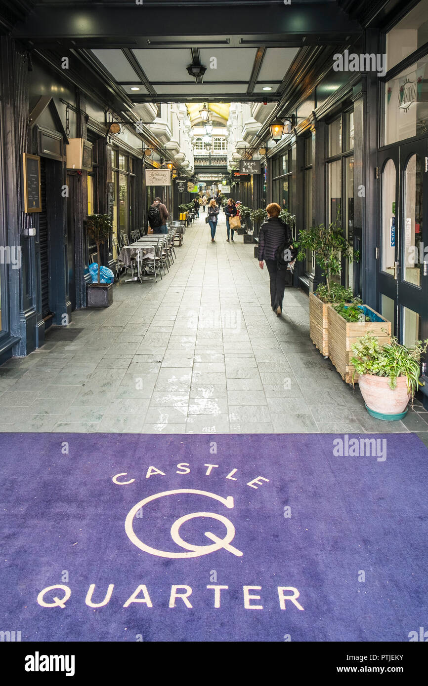 Castle Arcade in Cardiff city centre in Wales. - Stock Image