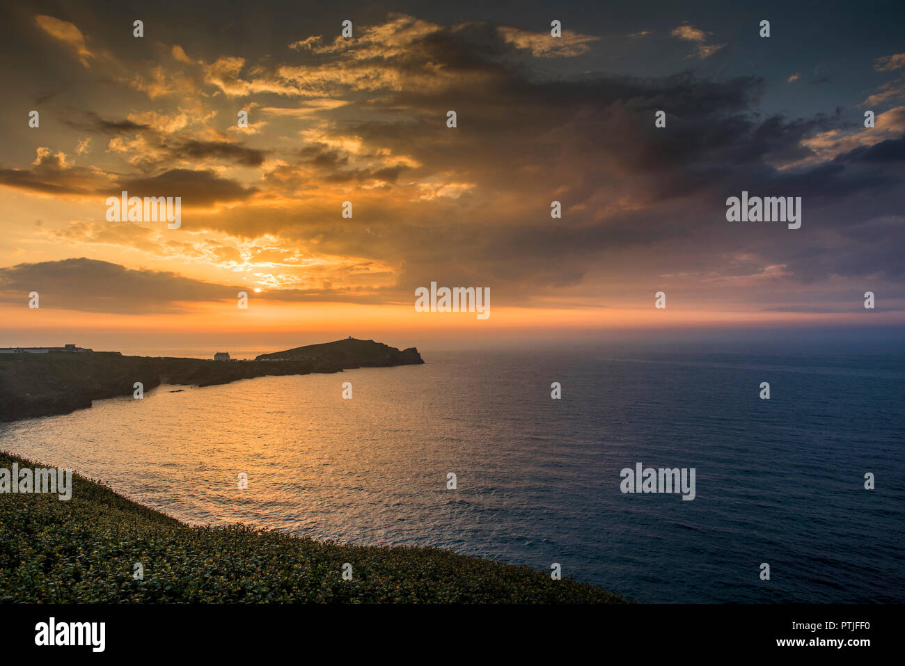 A glorious sunset over Towan Head in Newquay in Cornwall. Â - Stock Image