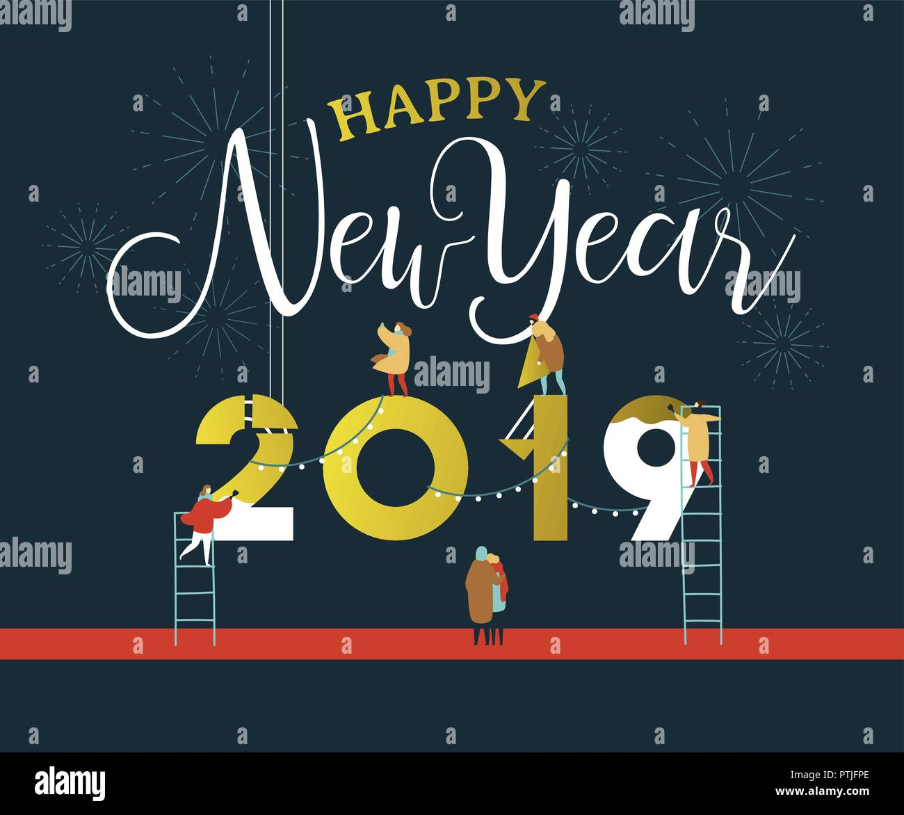 happy new year greeting card illustration for celebration event with fun people group building 2019 sign together on firework night sky eps10 vector