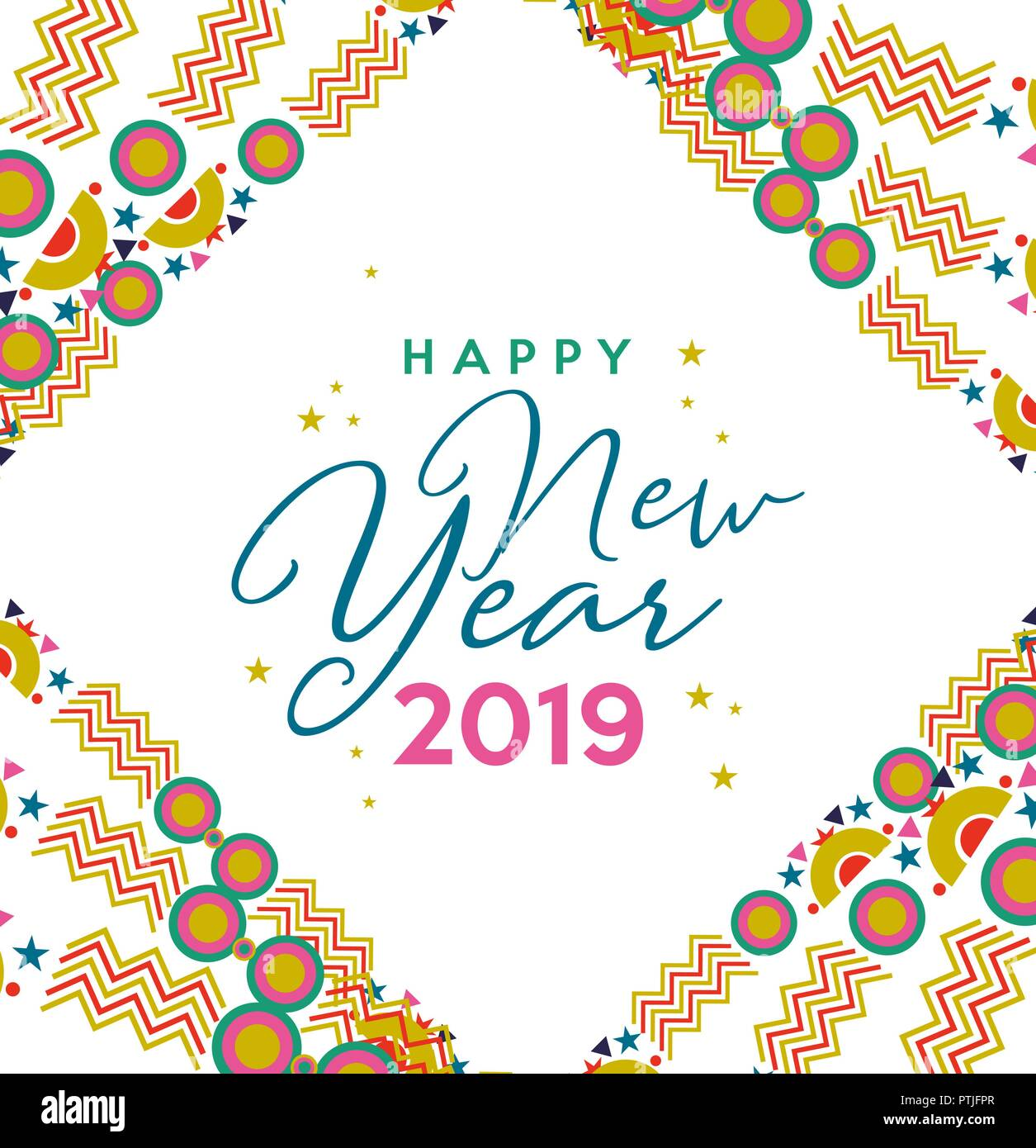 Happy new year 2019 holiday greeting card illustration - New year 2019 color ...