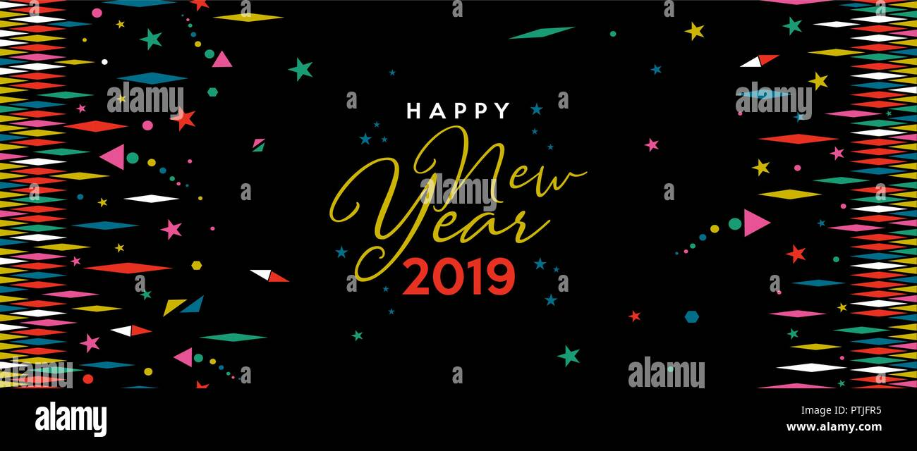 happy new year 2019 holiday web banner illustration fun decoration with abstract geometric shapes and stars in festive colors eps10 vector