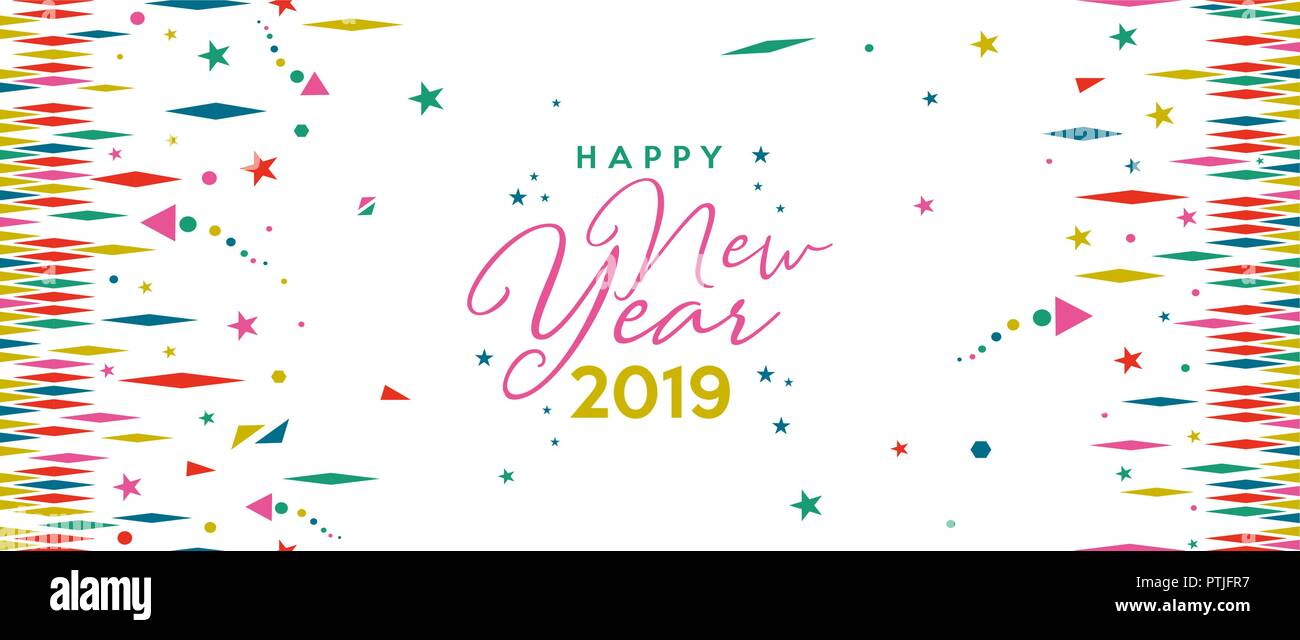 Happy new year 2019 holiday web banner illustration fun - New year 2019 color ...