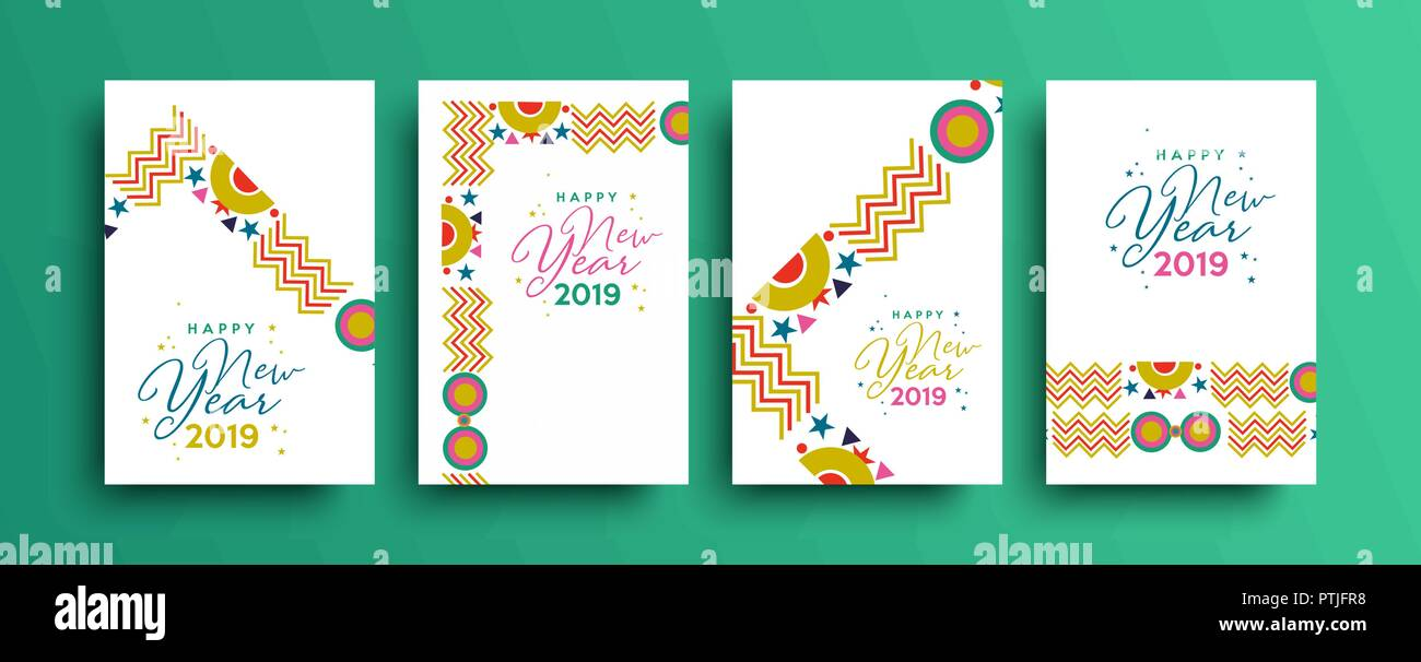 Happy new year 2019 holiday greeting card template set - New year 2019 color ...