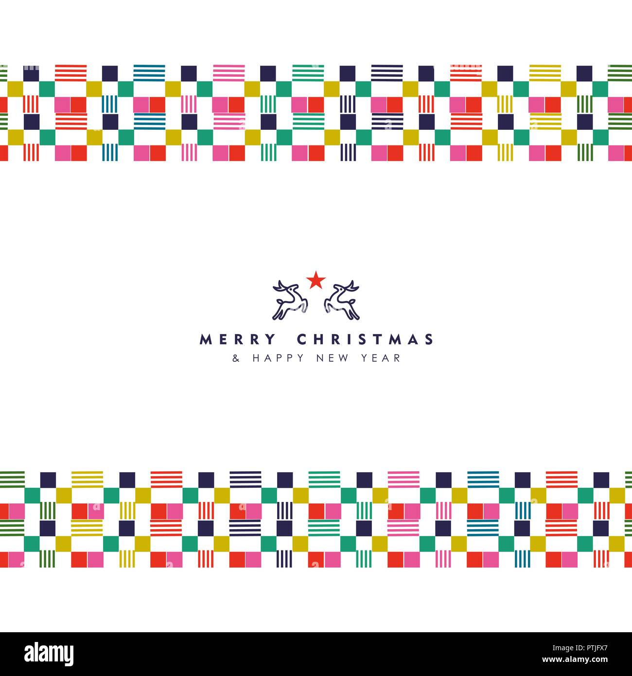 merry christmas and happy new year holiday greeting card illustration abstract style decoration with border colorful geometric shapes in festive colo