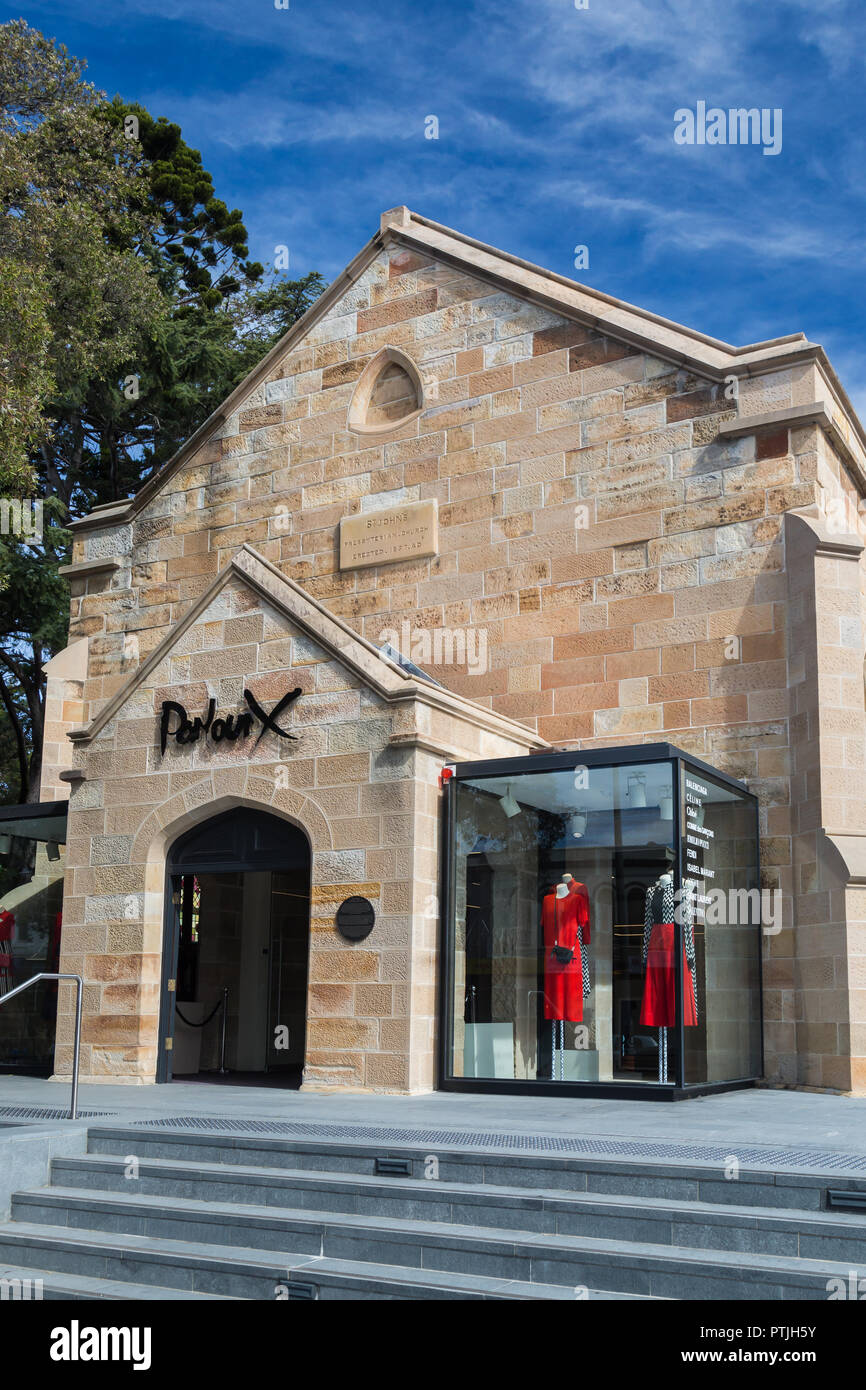 Parlour X,  A women's luxury fashion boutique in Paddington, Sydney. Its a converted old sandstone church now which used to be St Johns Presbyterian C Stock Photo