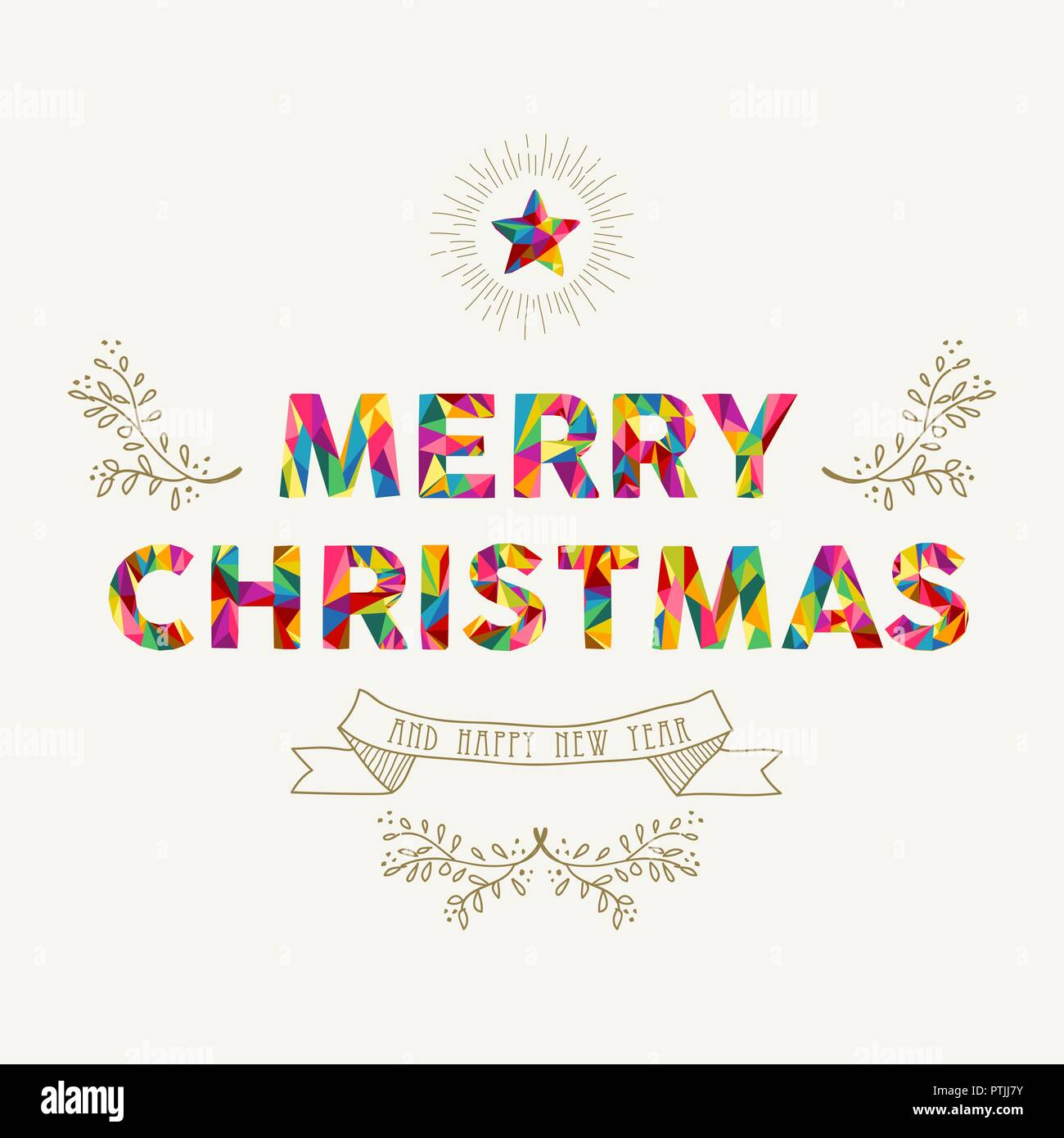 merry christmas and happy new year greeting card colorful low poly style text quote typography message xmas season illustration in holiday colors e