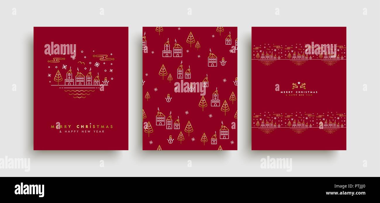 merry christmas happy new year greeting card set in gold outline style with holiday elements and seamless pattern eps10 vector