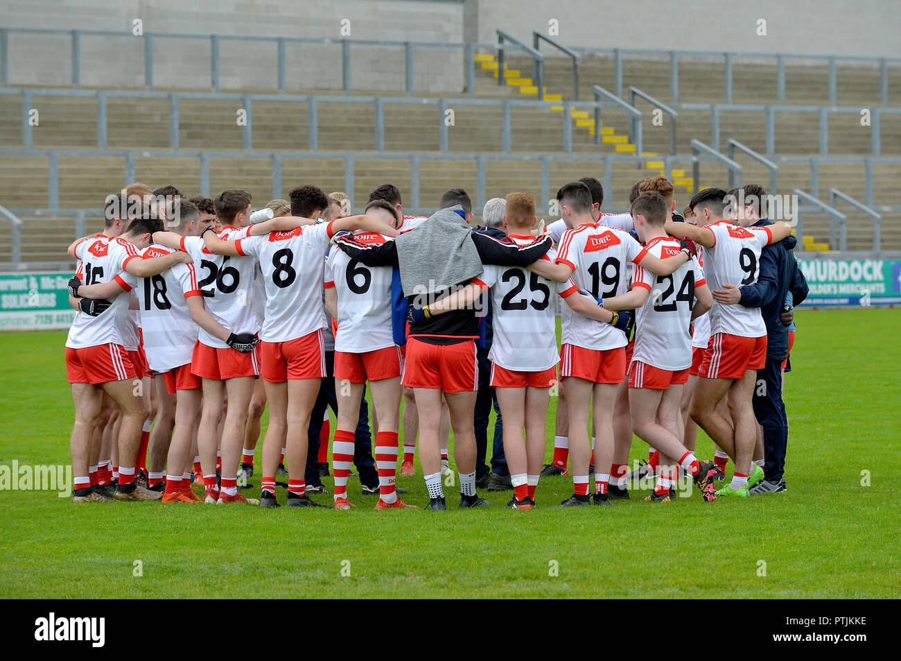 Cathair Doire colleges gaelic football team pre-match huddle in Celtic  Park 244f8beab