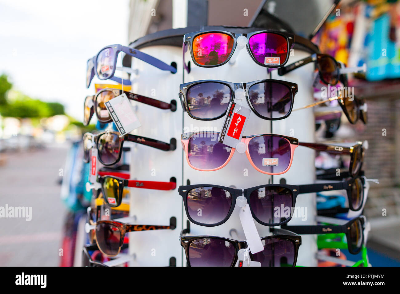 d01c279f0a4 ... store alanya turkey september 30 2018 sunglasses from ray ban hangs on  a stand at a