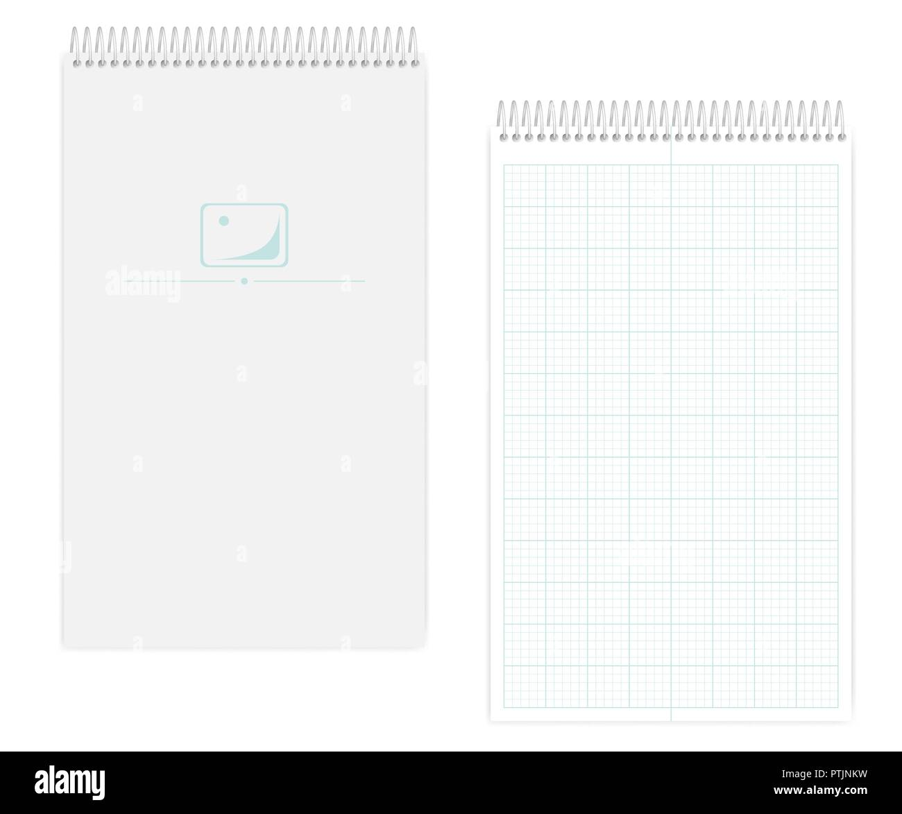 Spiral notebook with metric field rule sheets, realistic mockup. Wire bound legal size squared paper notepad, mock up. Softcover note book, template - Stock Vector