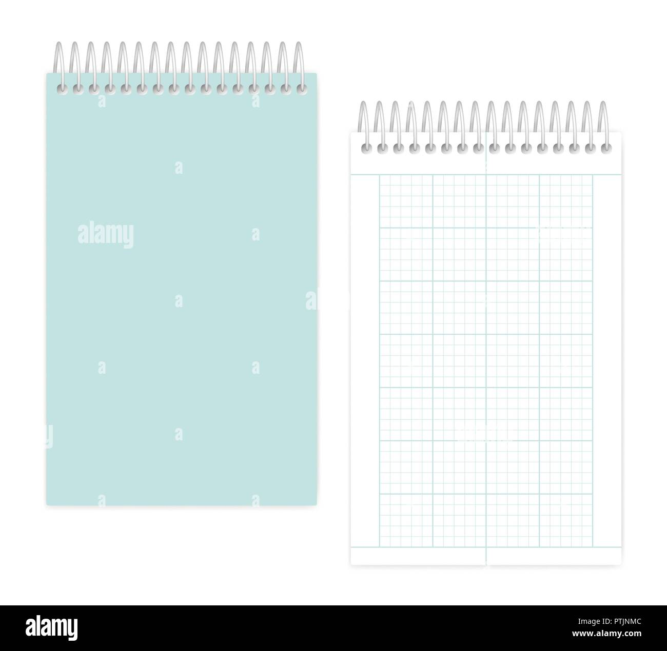 Top spiral notebook with squared metric field rule sheets: page and cover, realistic vector mockup. Wire bound junior legal size notepad, mock up - Stock Vector