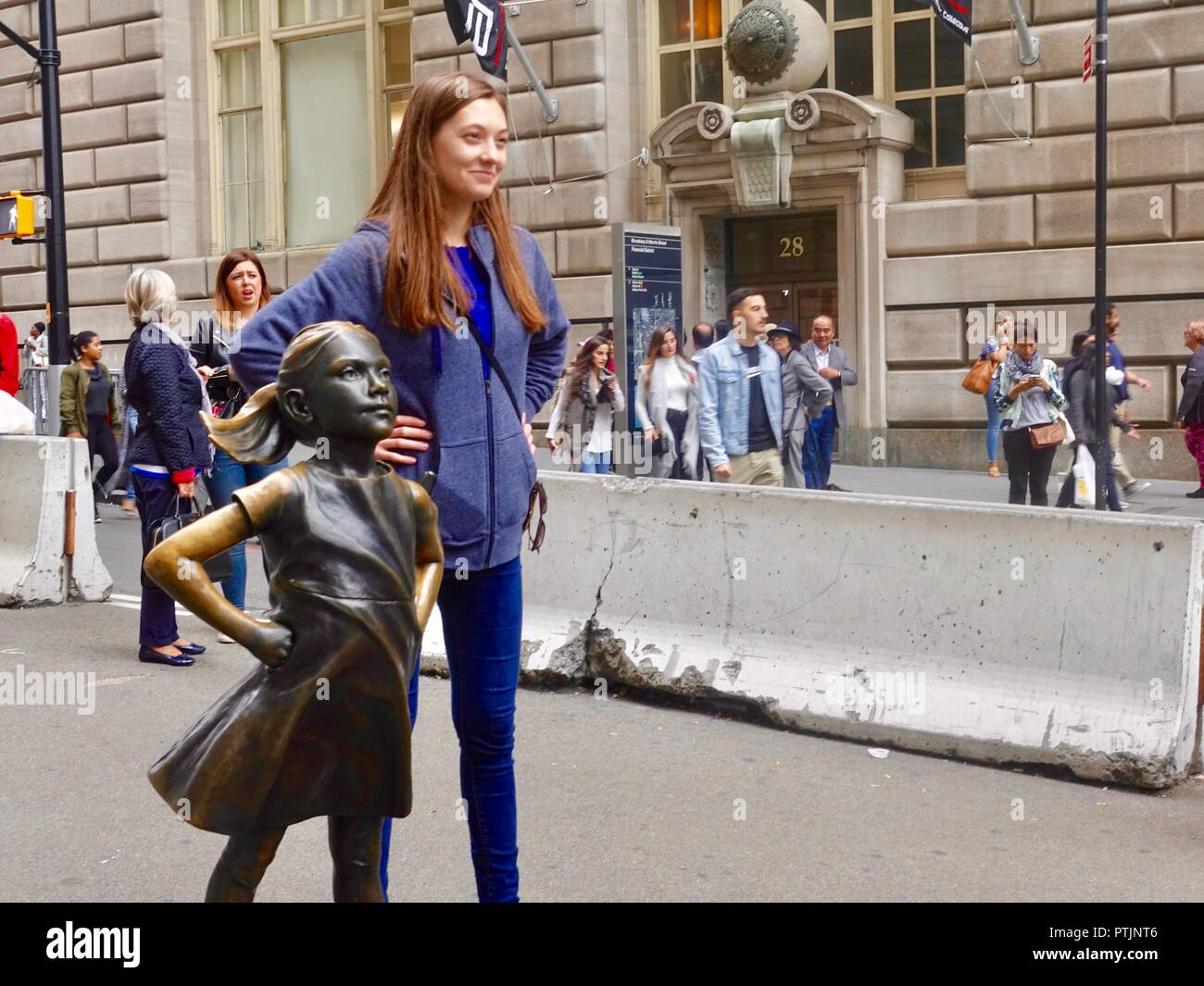 Fearless Girl of Wall Street, New York, NY, USA. - Stock Image