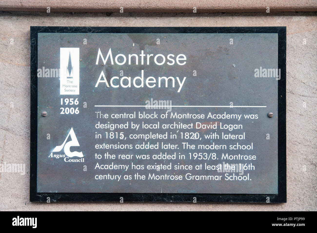 Plaque on wall outside Montrose Academy, Secondary school in Montrose designed in 1815 and built in 1820 with a golden roof - Stock Image