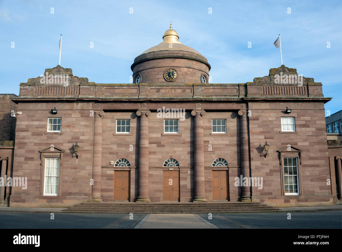 Montrose Academy, Secondary school in Montrose designed in 1815 and built in 1820 with a golden roof - Stock Image