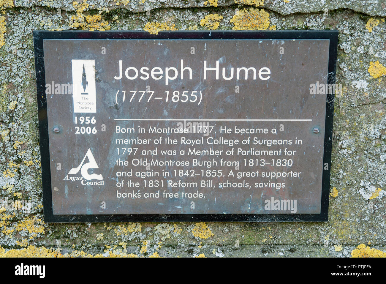 Plaque under statue of Joseph Hume born 1777 in Montrose, a previous Member of Parliament and Member of Royal College of Surgeons. - Stock Image