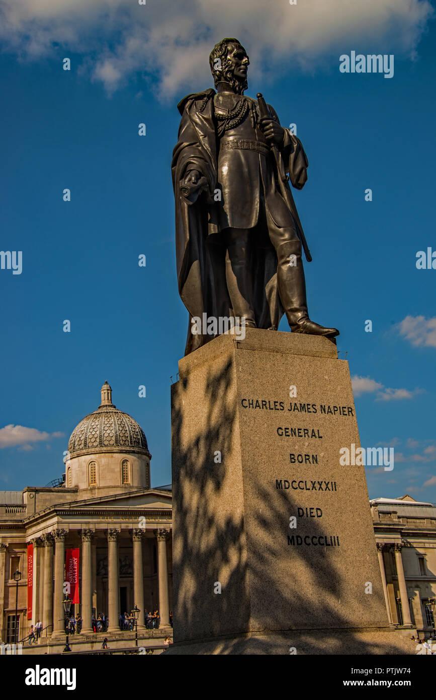 Statue of General Charles James Napier in Trafalgar Square, London. UK - Stock Image