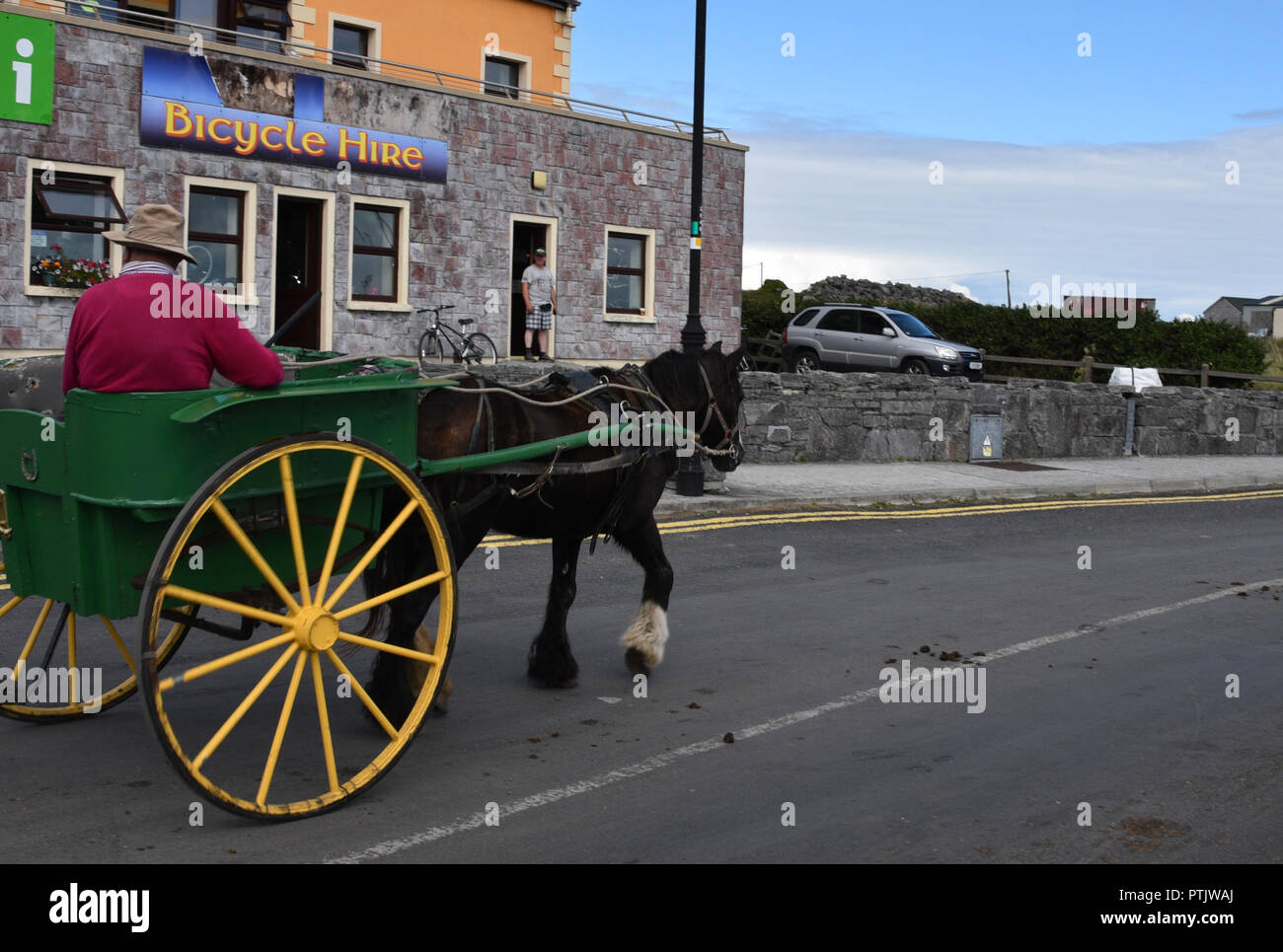 Pony and trap rides,Inishmore,Árainn Mhór, Aran Islands Galway Bay. - Stock Image