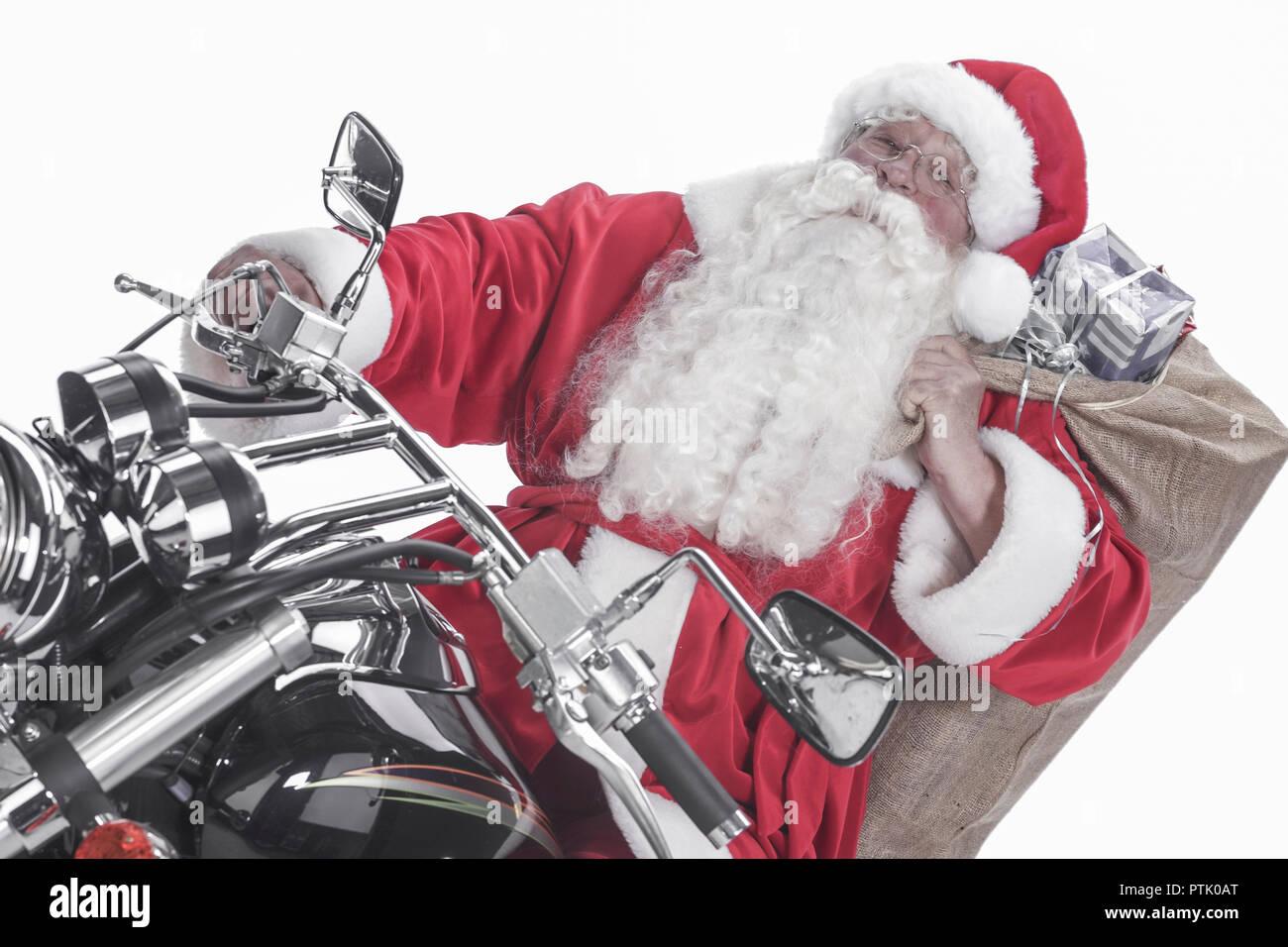Mann, Nikolaus, Kostuem, Nikolauskostuem, Weihnachten, Motorrad ...