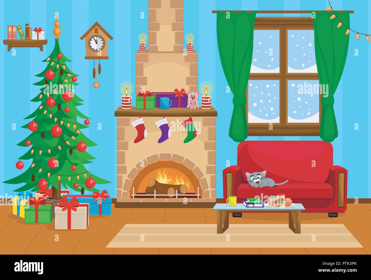how to draw a christmas tree in a living room