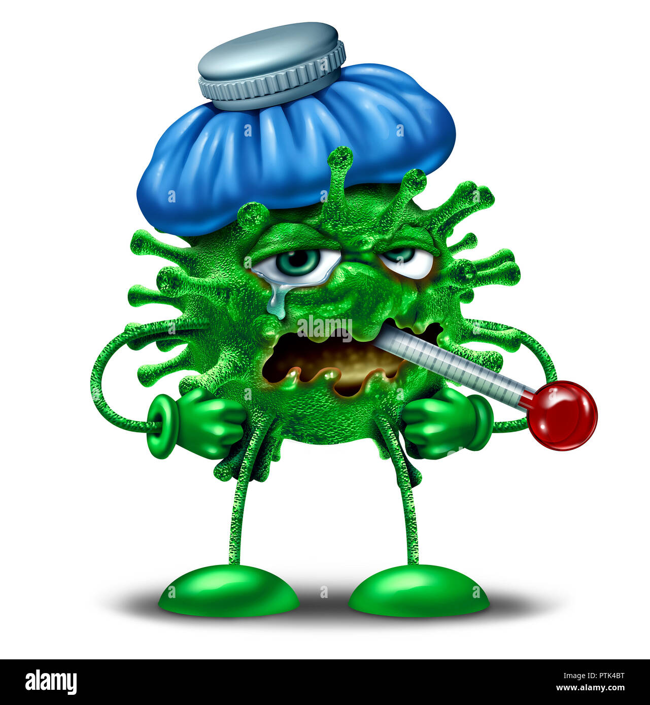Winter flu character as an influenza or virus infection symbol as a sick feverish cartoon pathogen cell with an ice bag and thermometer. - Stock Image