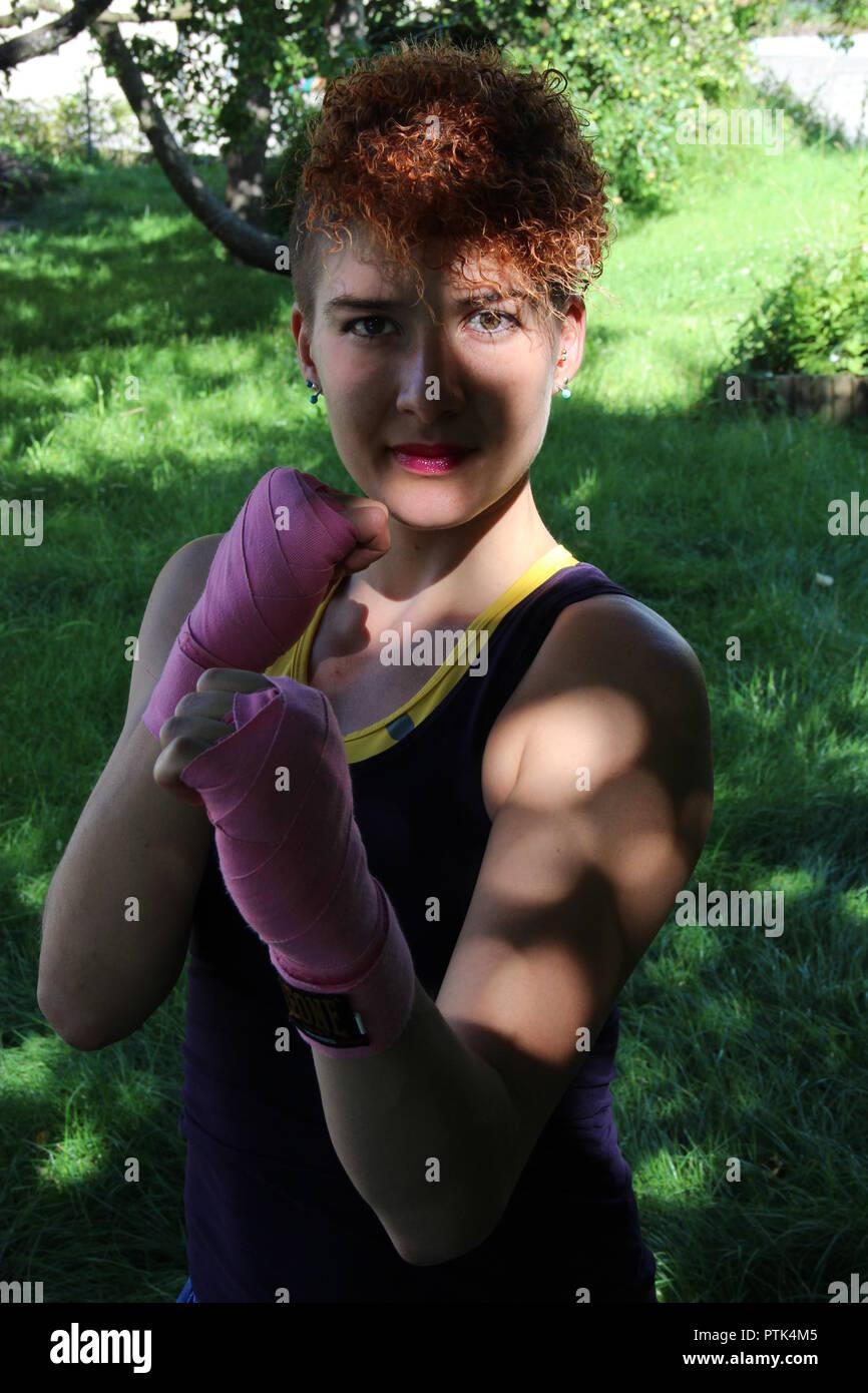 Female kick-boxing model - Stock Image