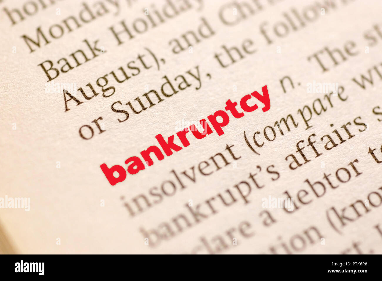 dictionary definition of bankruptcy. close up view, soft focus stock