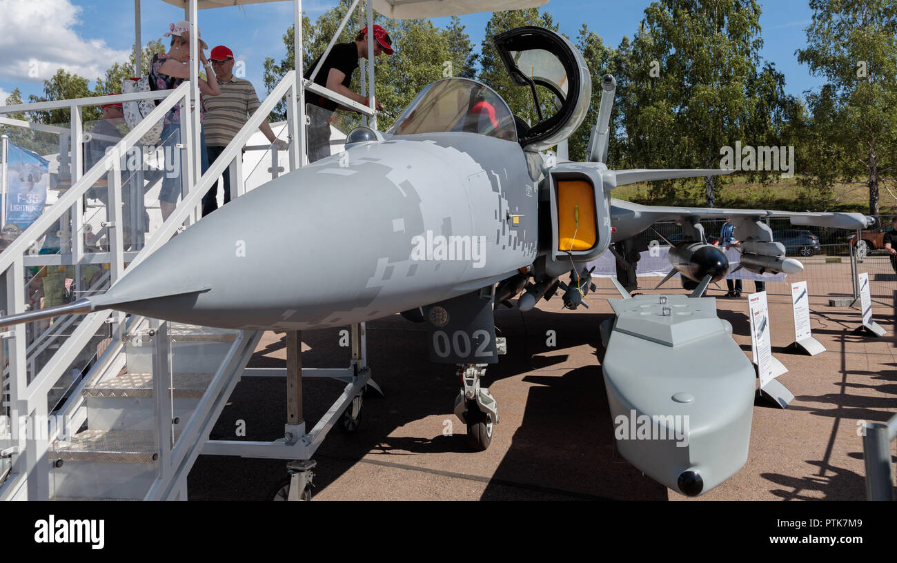 The Swedish Saab JAS 39E Gripen multirole fighter represented by a mock-up at the Finnish Air Force 100 years anniversary Air Show at Tikkakoski. - Stock Image