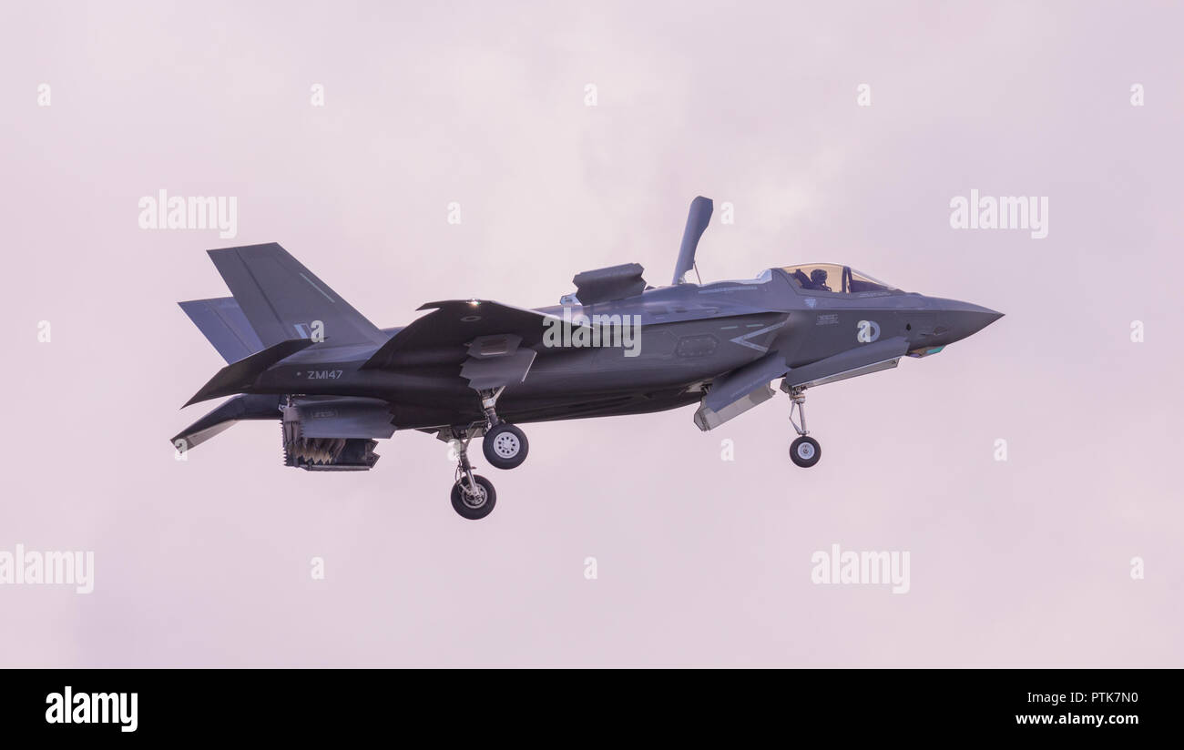 A British Lockheed Martin F-35 B Lightning II 5th generation multirole stealth fighter hovering on display flight at Duxford Air Show. Stock Photo