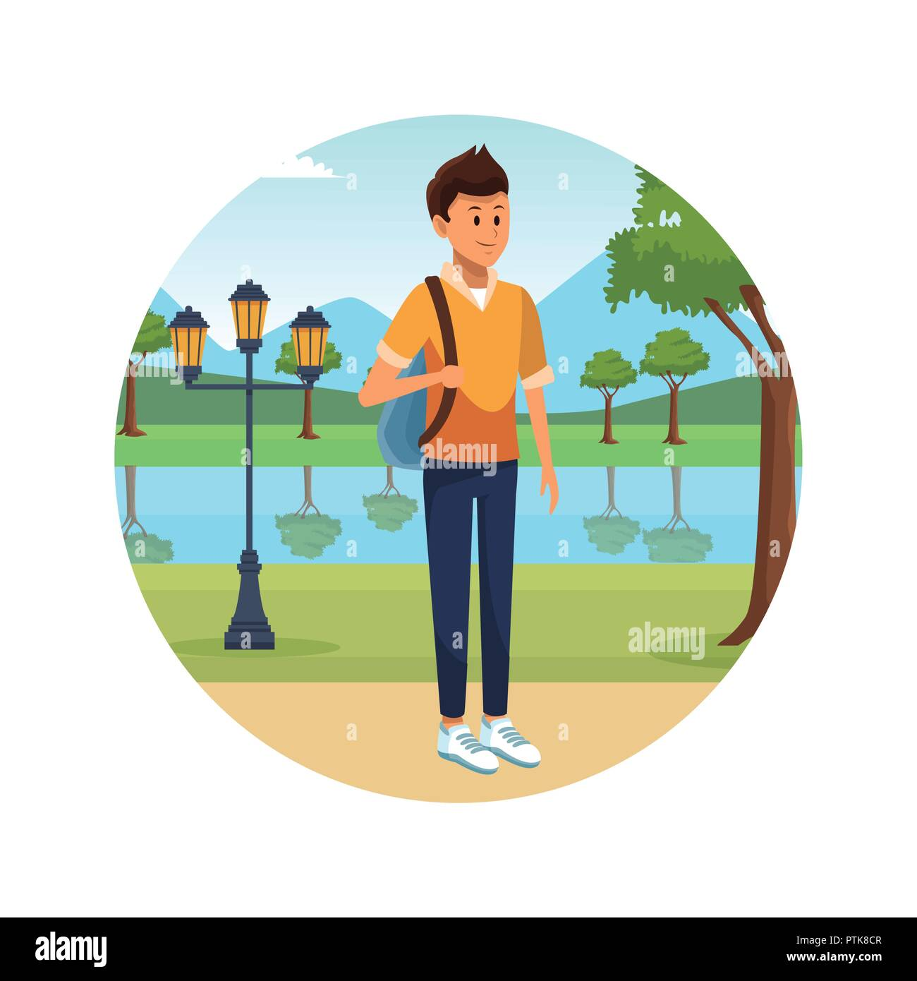 person alone at city park cartoons - Stock Vector