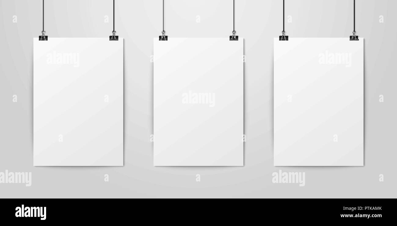 three vector realistic white blank vertical a4 paper poster hanging